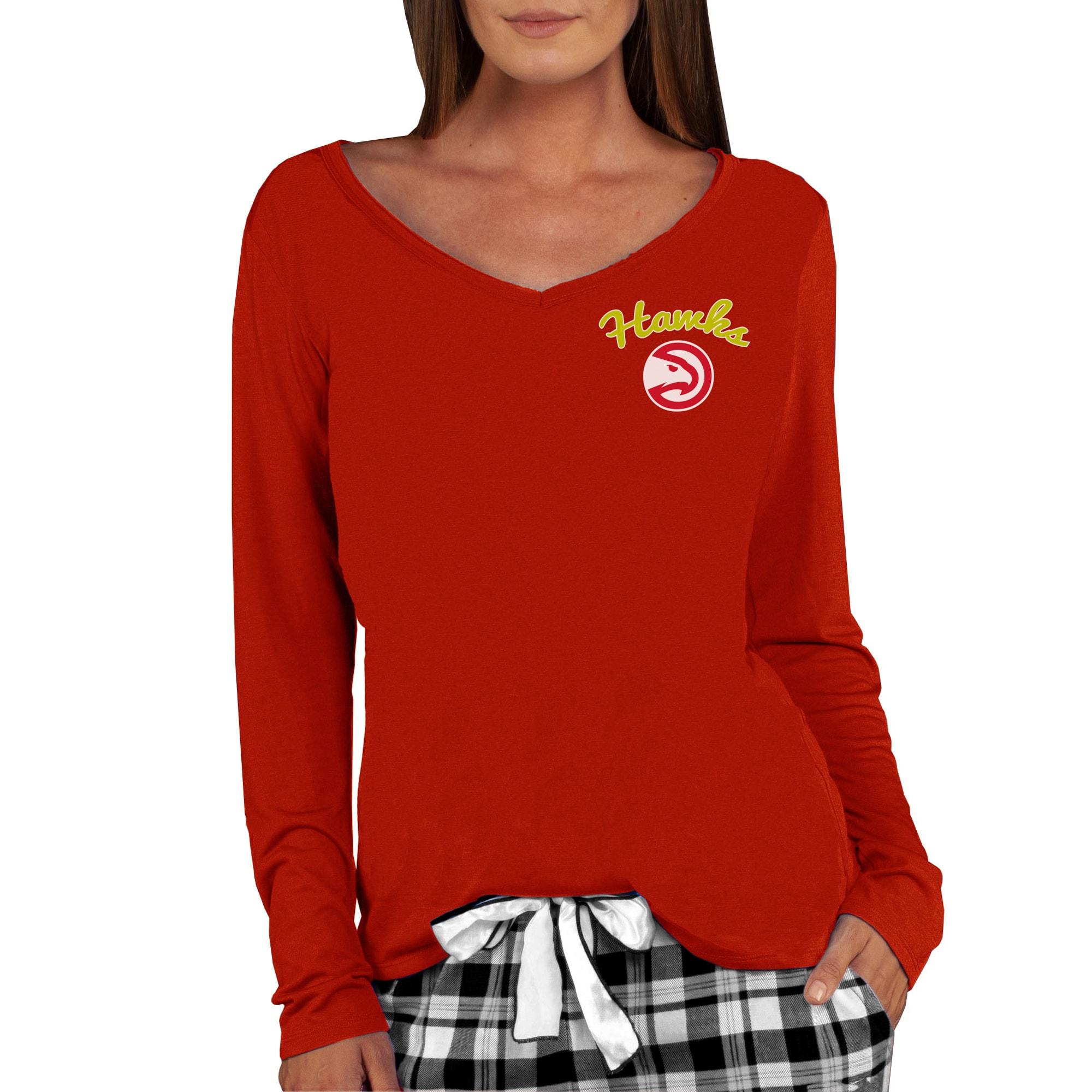 Atlanta Hawks Concepts Sport Women's Marathon V-Neck Long Sleeve T-Shirt - Red
