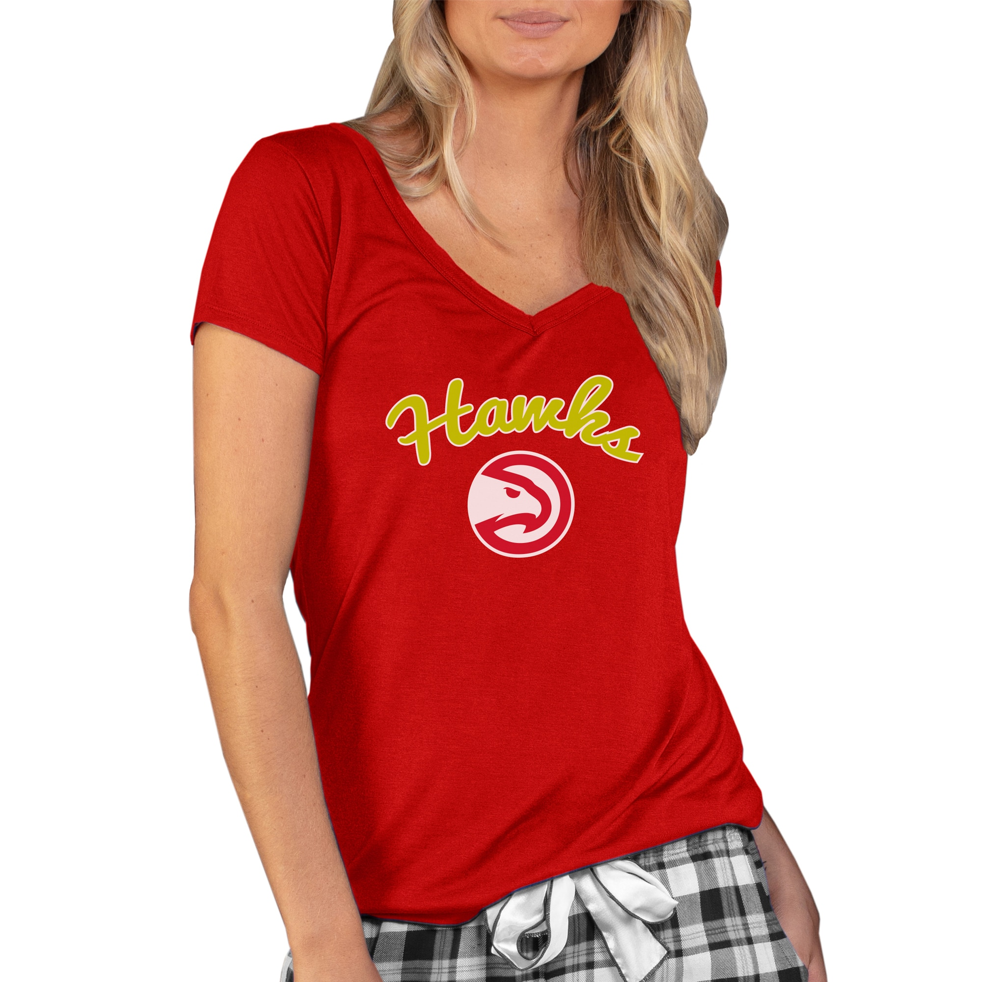 Atlanta Hawks Concepts Sport Women's Marathon V-Neck T-Shirt - Red