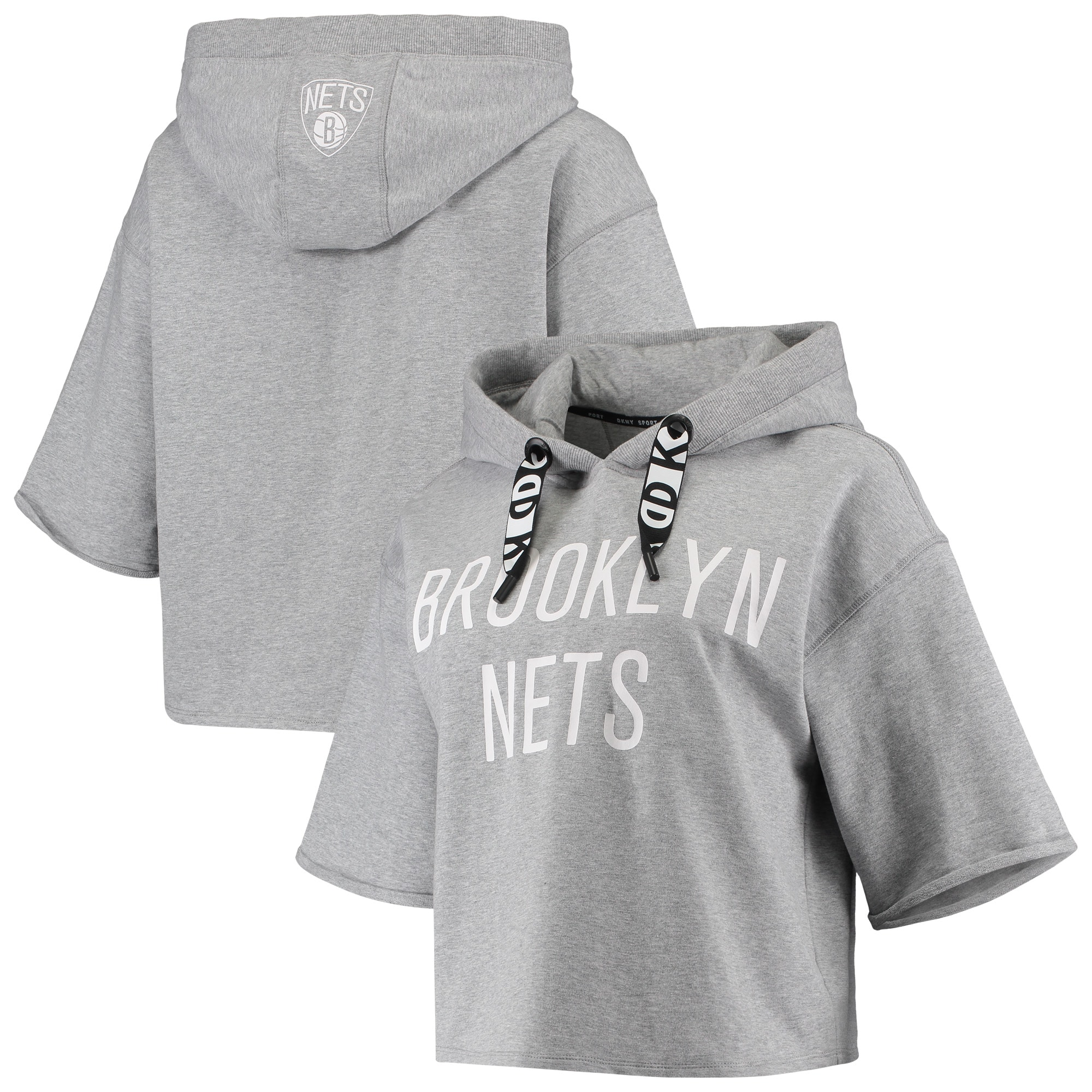 Brooklyn Nets DKNY Sport Women's Emma Cropped Pullover Hoodie - Gray