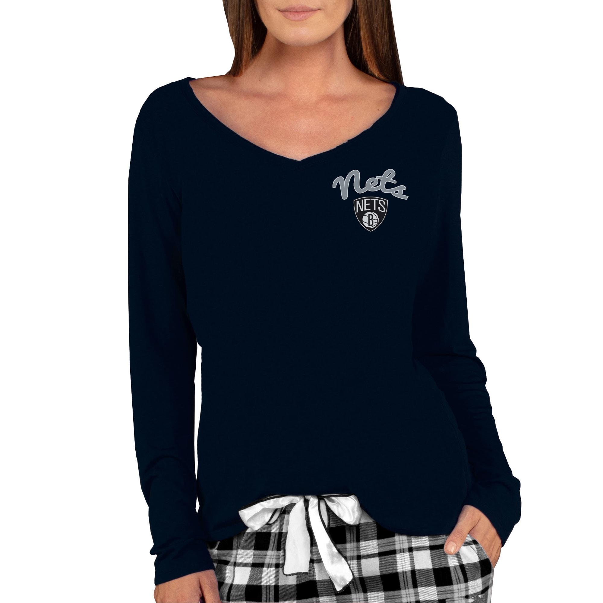 Brooklyn Nets Concepts Sport Women's Marathon V-Neck Long Sleeve T-Shirt - Black