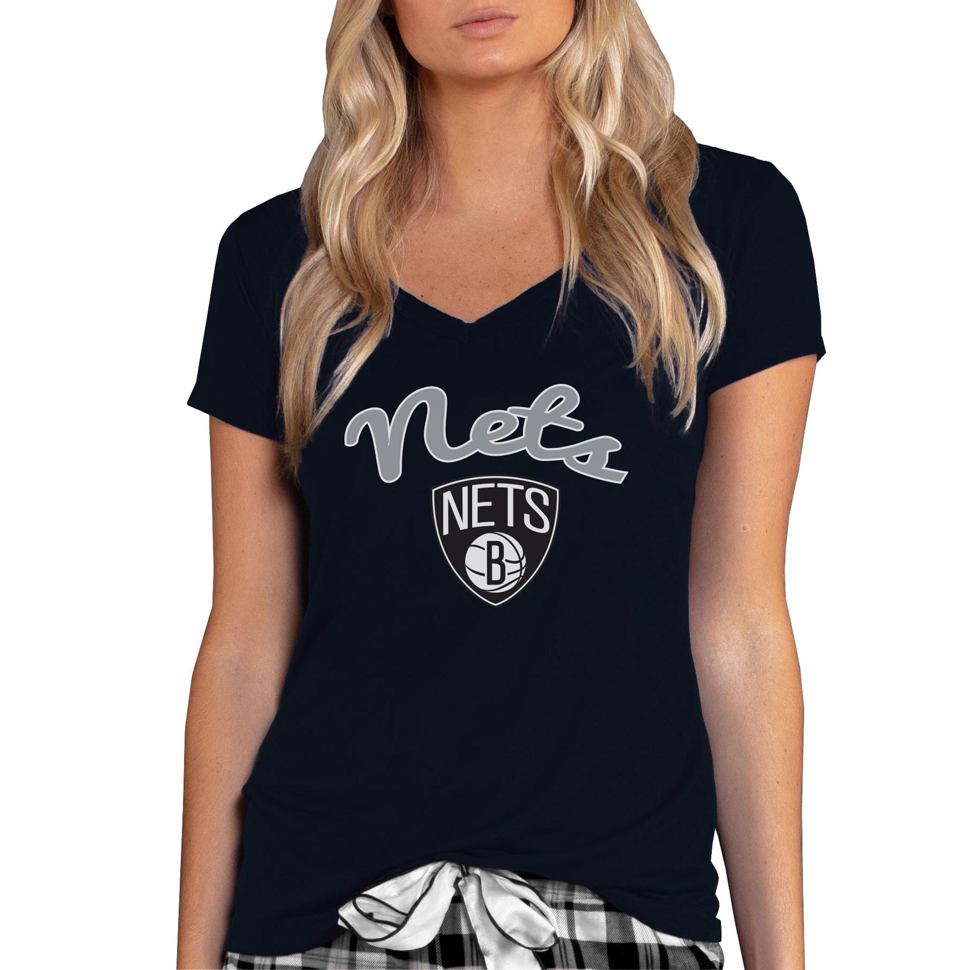 Brooklyn Nets Concepts Sport Women's Marathon V-Neck T-Shirt - Black