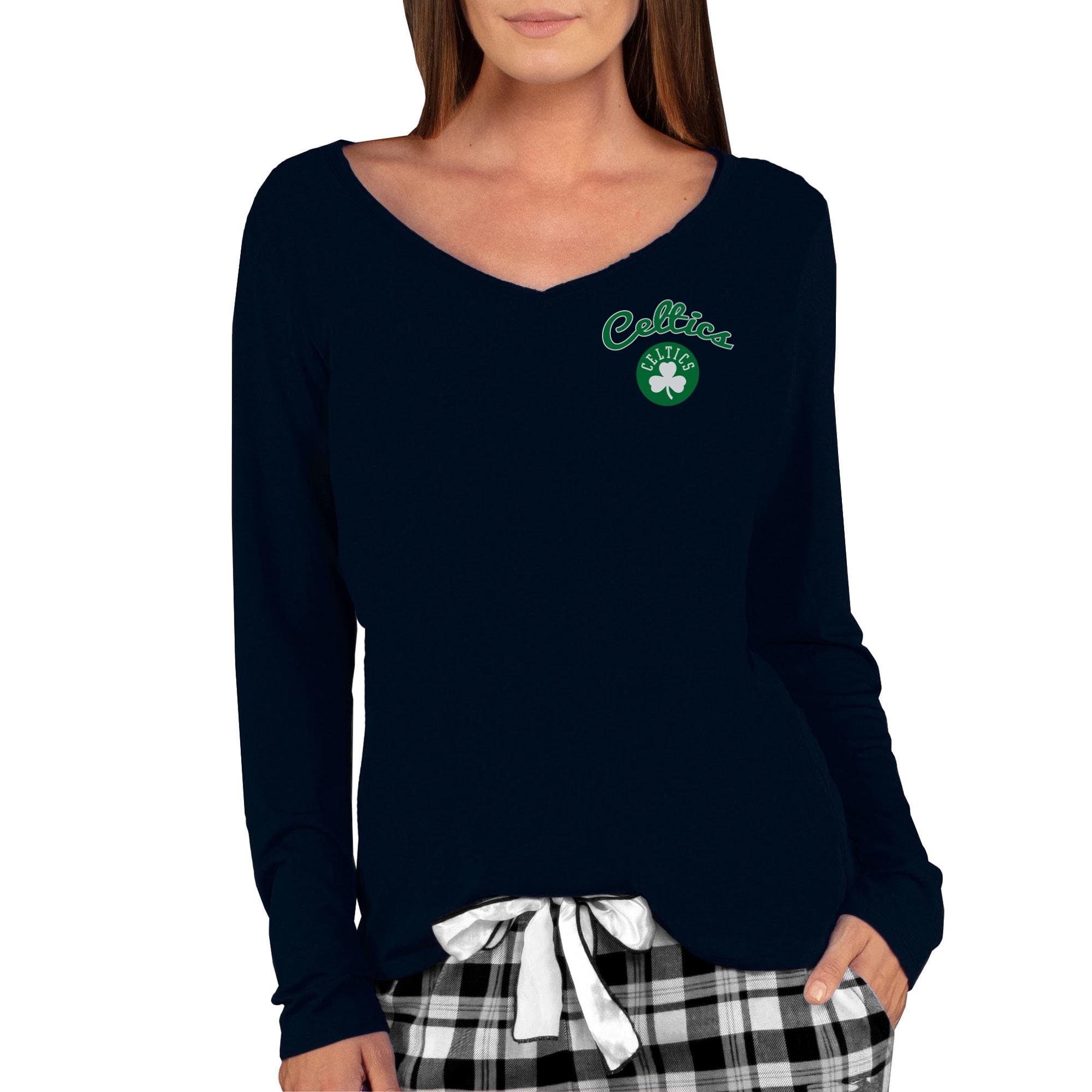 Boston Celtics Concepts Sport Women's Marathon V-Neck Long Sleeve T-Shirt - Black