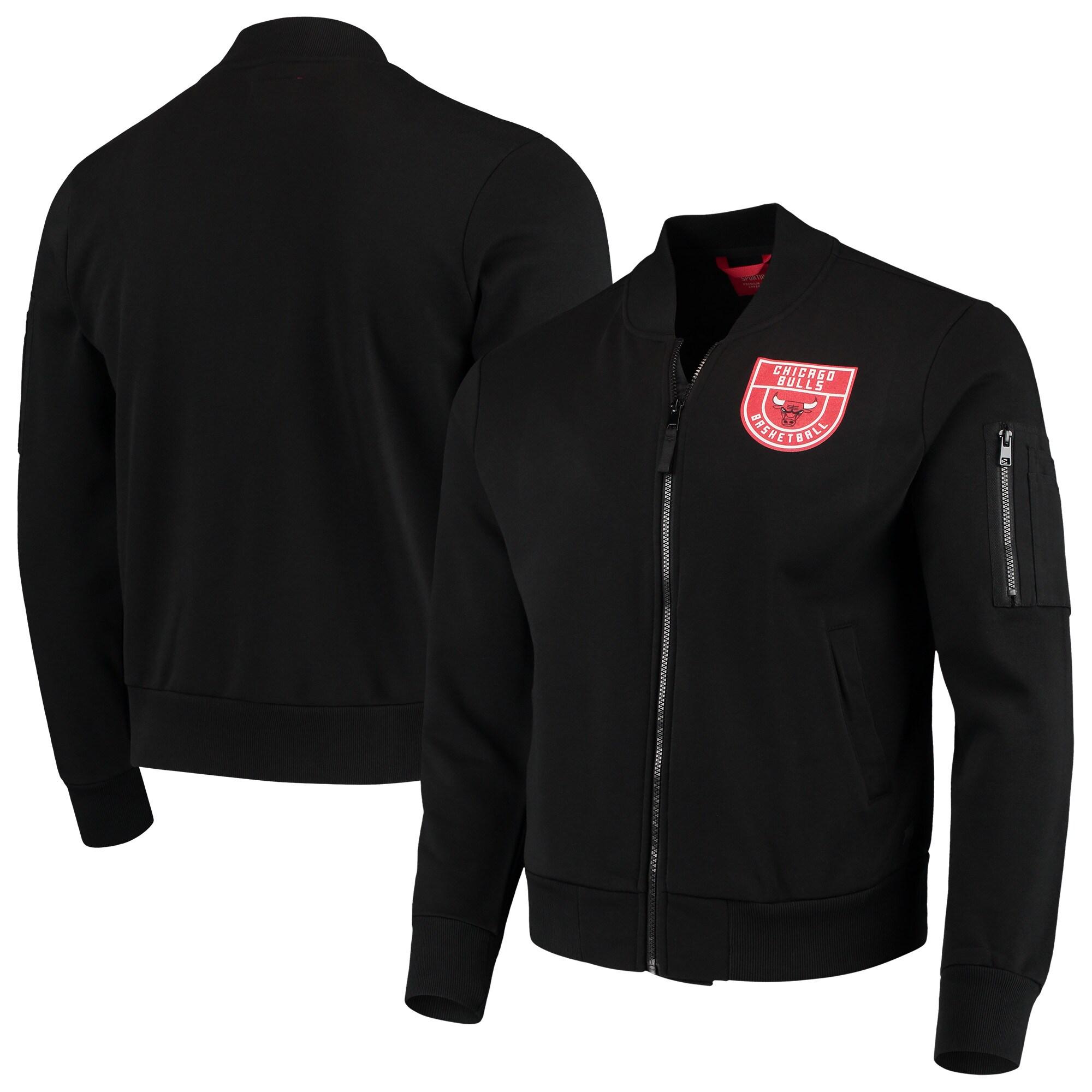Chicago Bulls Sportiqe Maverick Fleece Bomber Full-Zip Jacket - Black