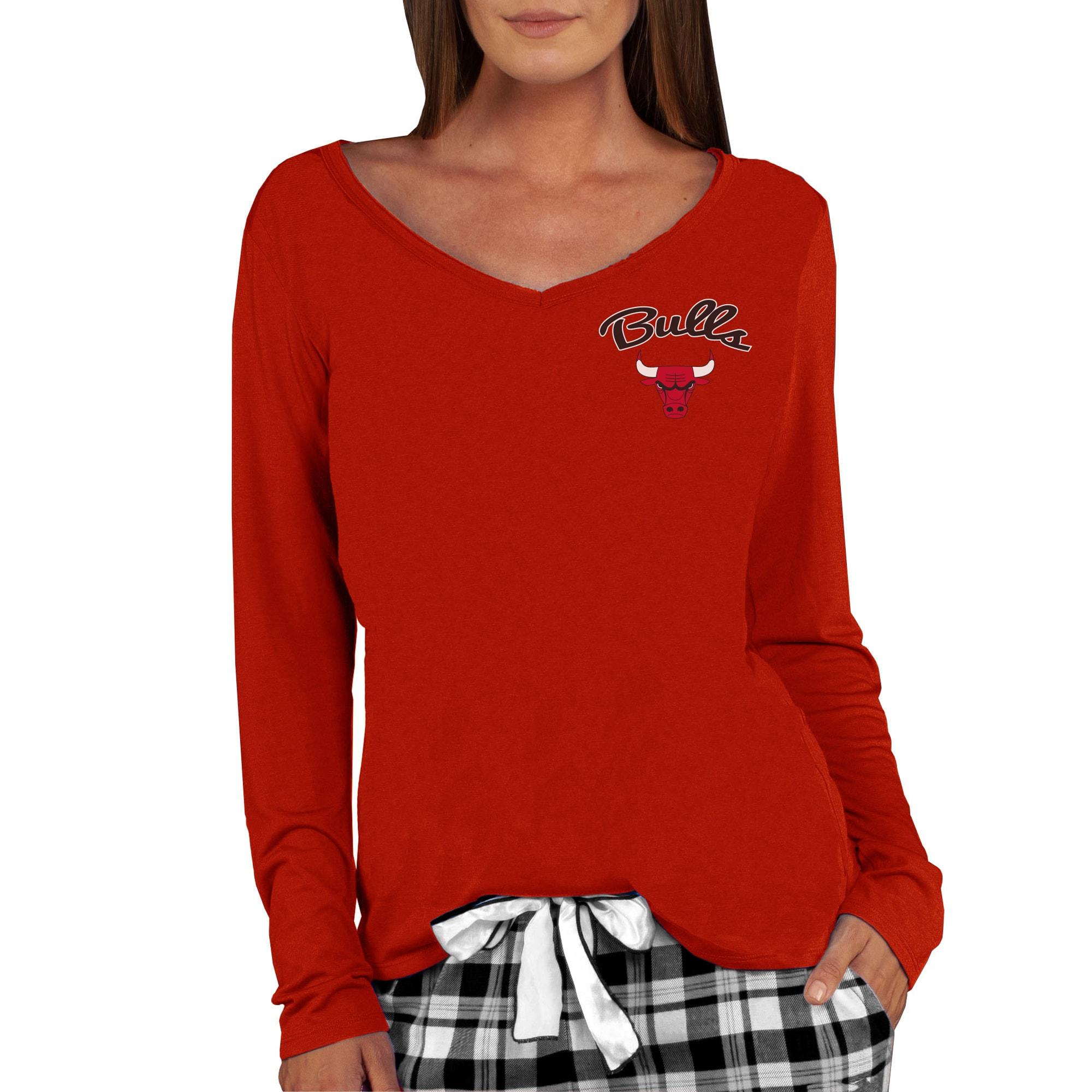 Chicago Bulls Concepts Sport Women's Marathon V-Neck Long Sleeve T-Shirt - Red
