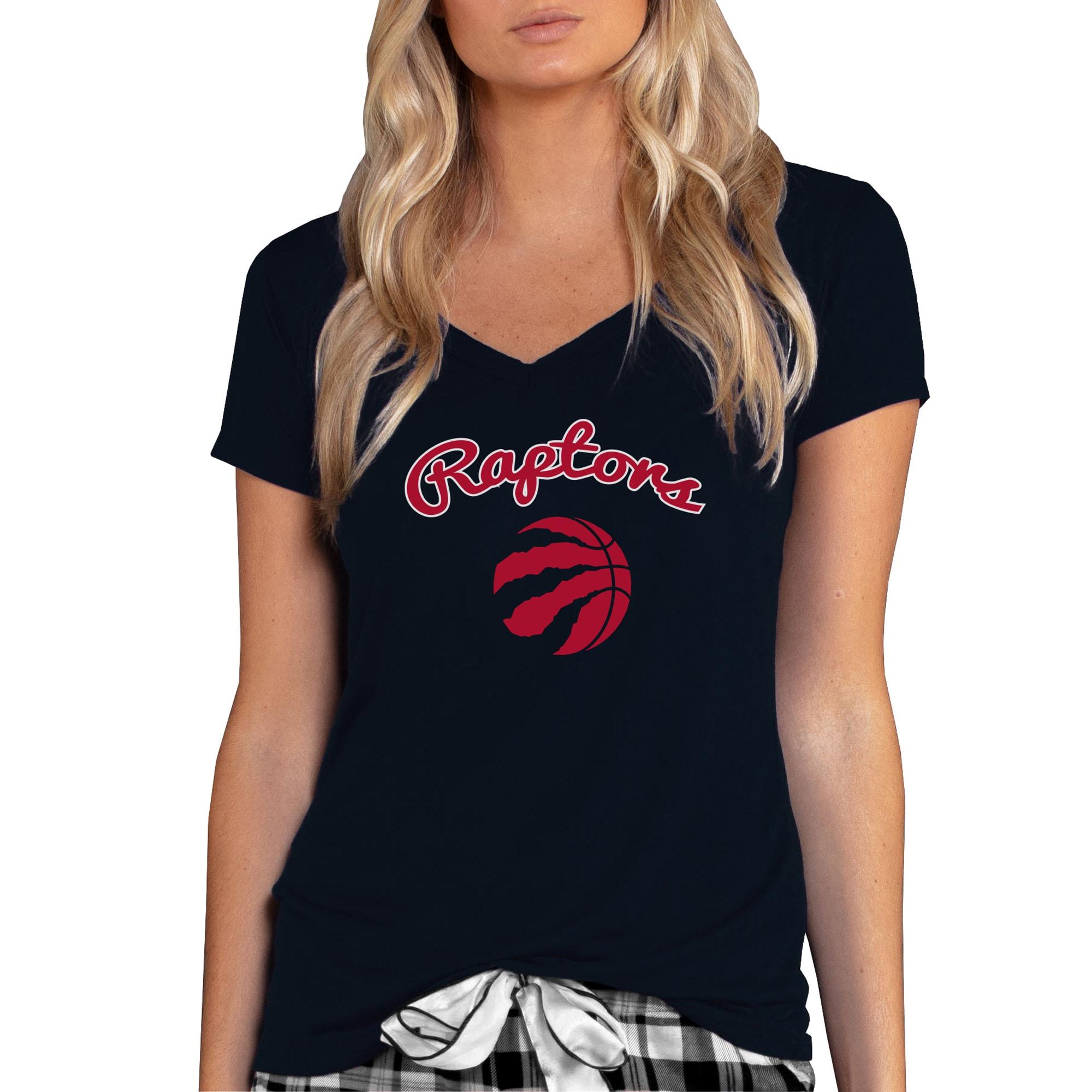Toronto Raptors Concepts Sport Women's Marathon V-Neck T-Shirt - Black