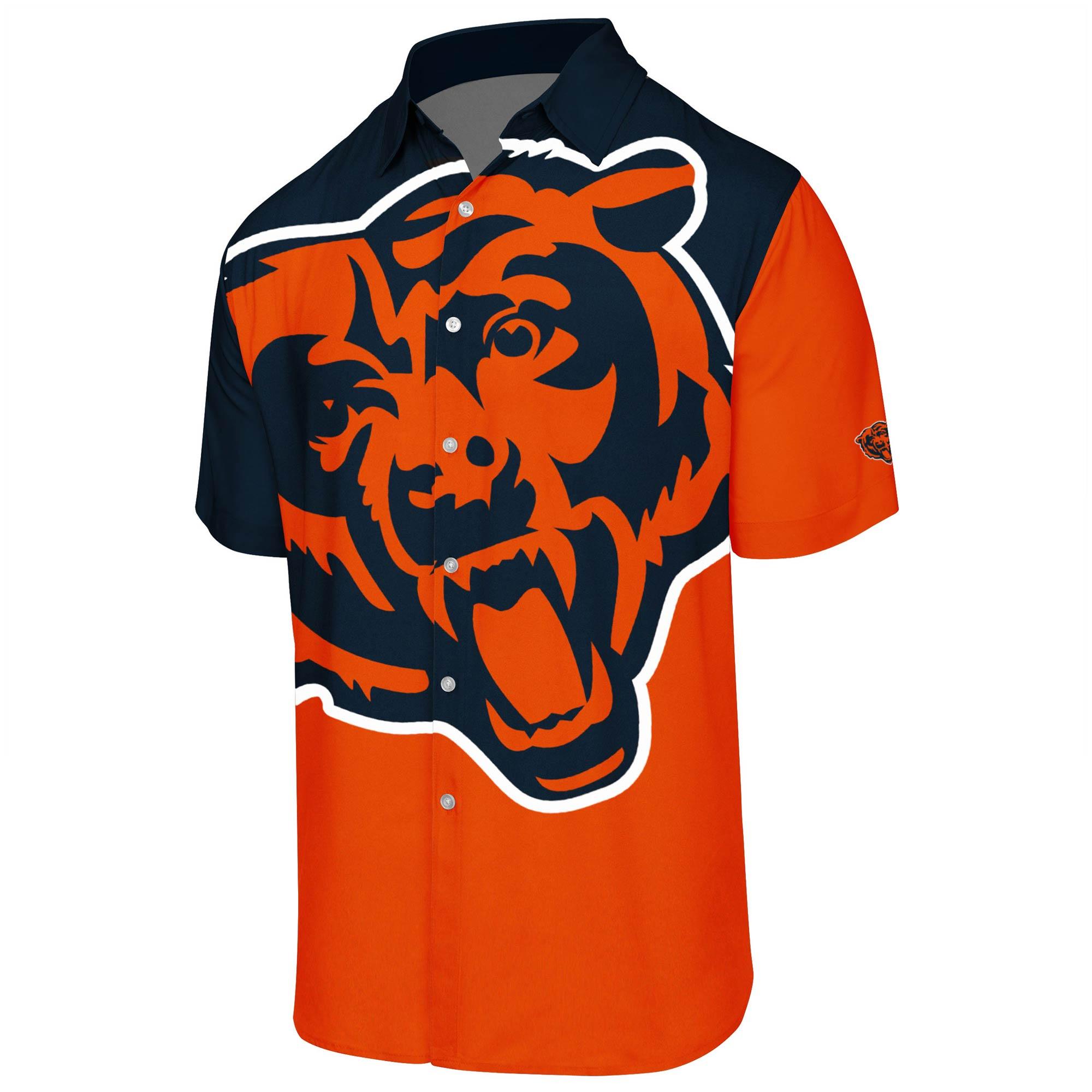 Chicago Bears Big Logo Button-Up Woven T-Shirt - Orange