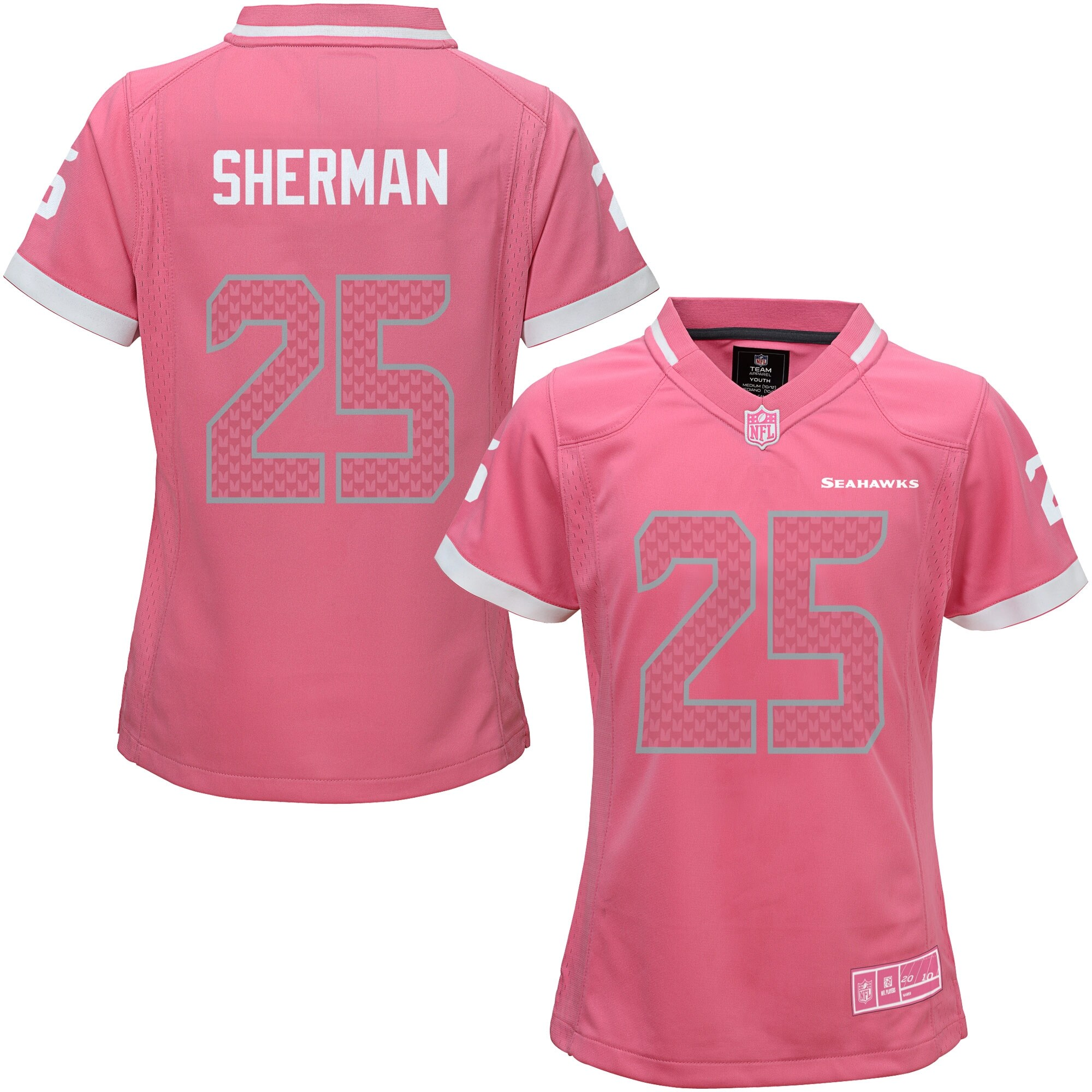 Richard Sherman Seattle Seahawks Girls Youth Bubble Gum Jersey - Pink