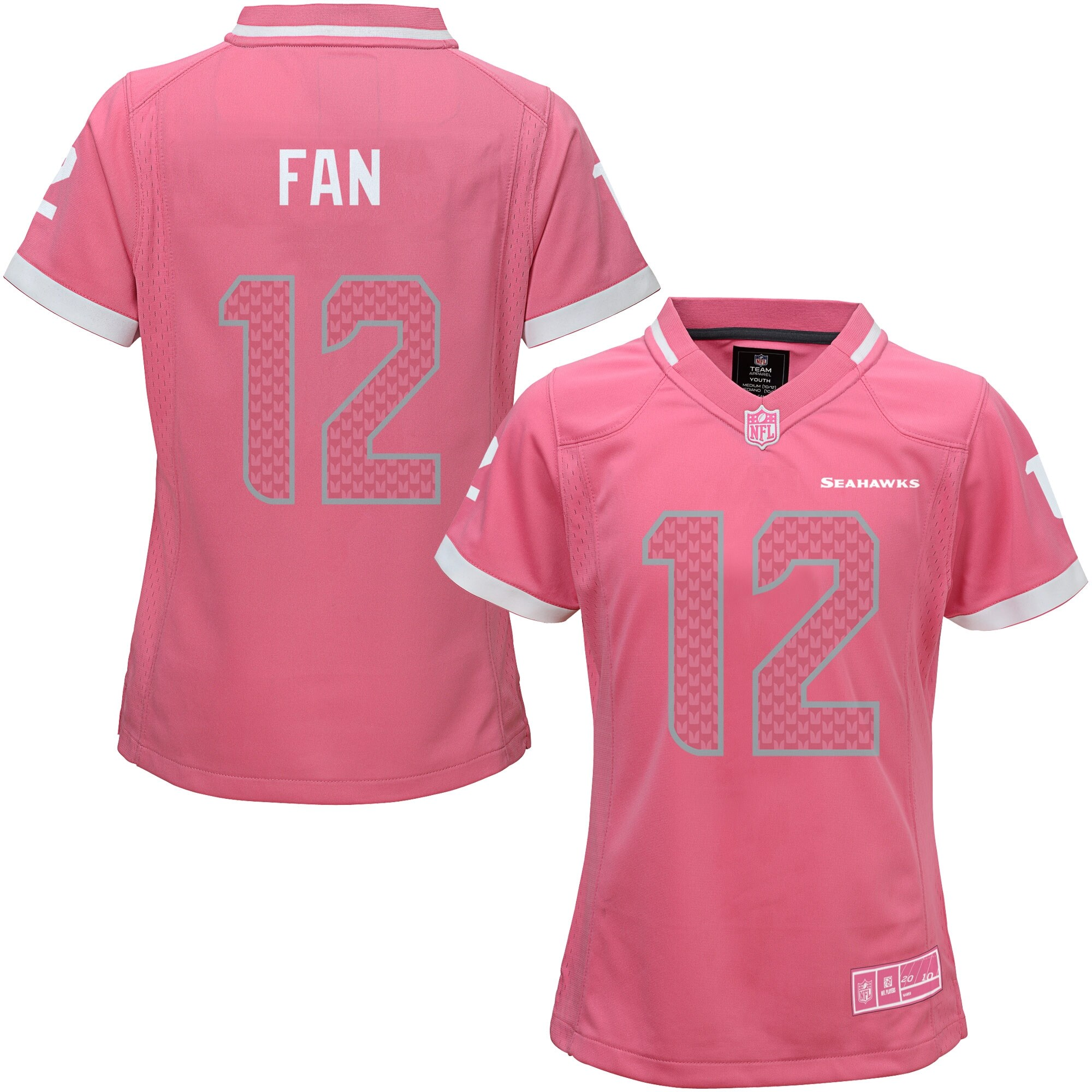 Seattle Seahawks Girls Youth Bubble Gum Jersey - Pink