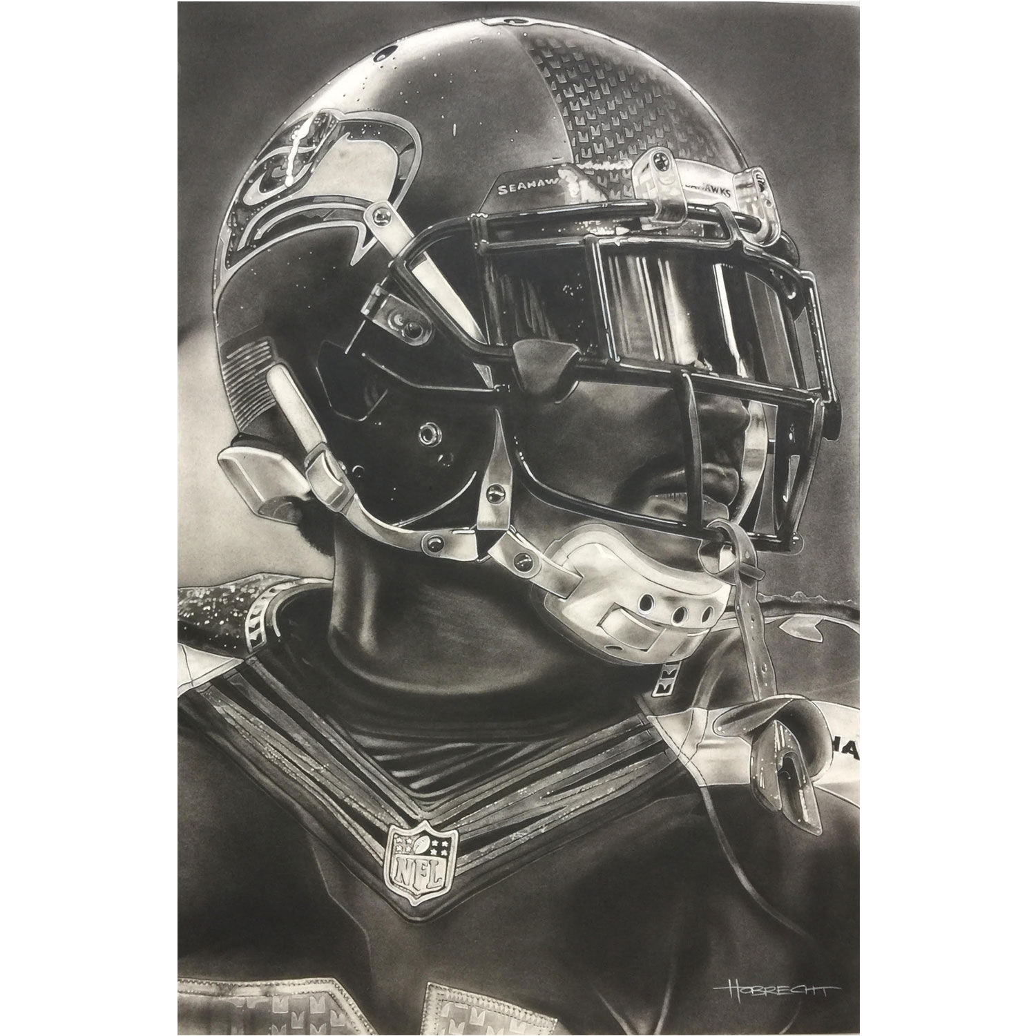 "Seattle Seahawks Deacon Jones Foundation 9"" x 14"" Helmet Series Fine Art Giclée Print"