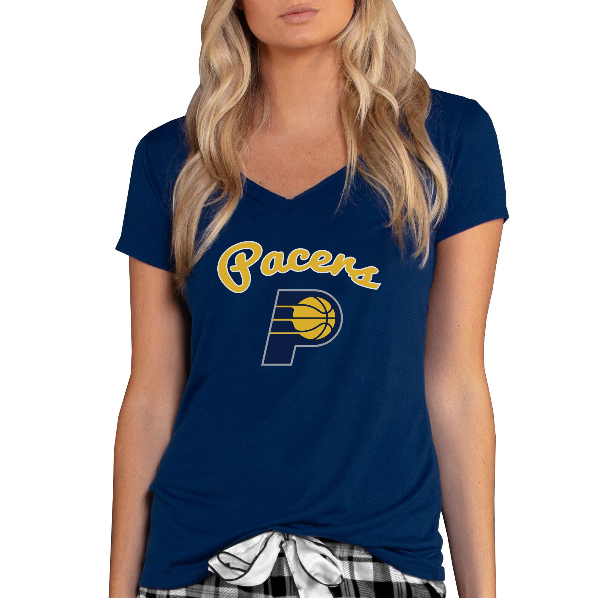 Indiana Pacers Concepts Sport Women's Marathon V-Neck T-Shirt - Navy