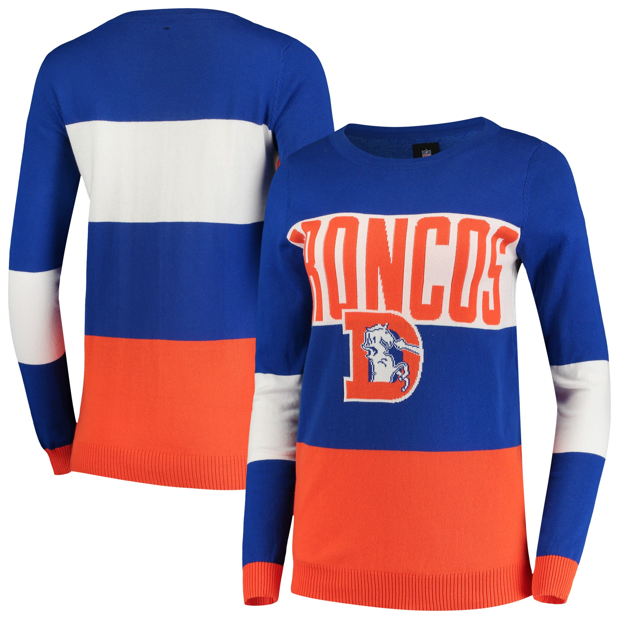 Denver Broncos Women's Retro Colorblock Sweater - Royal