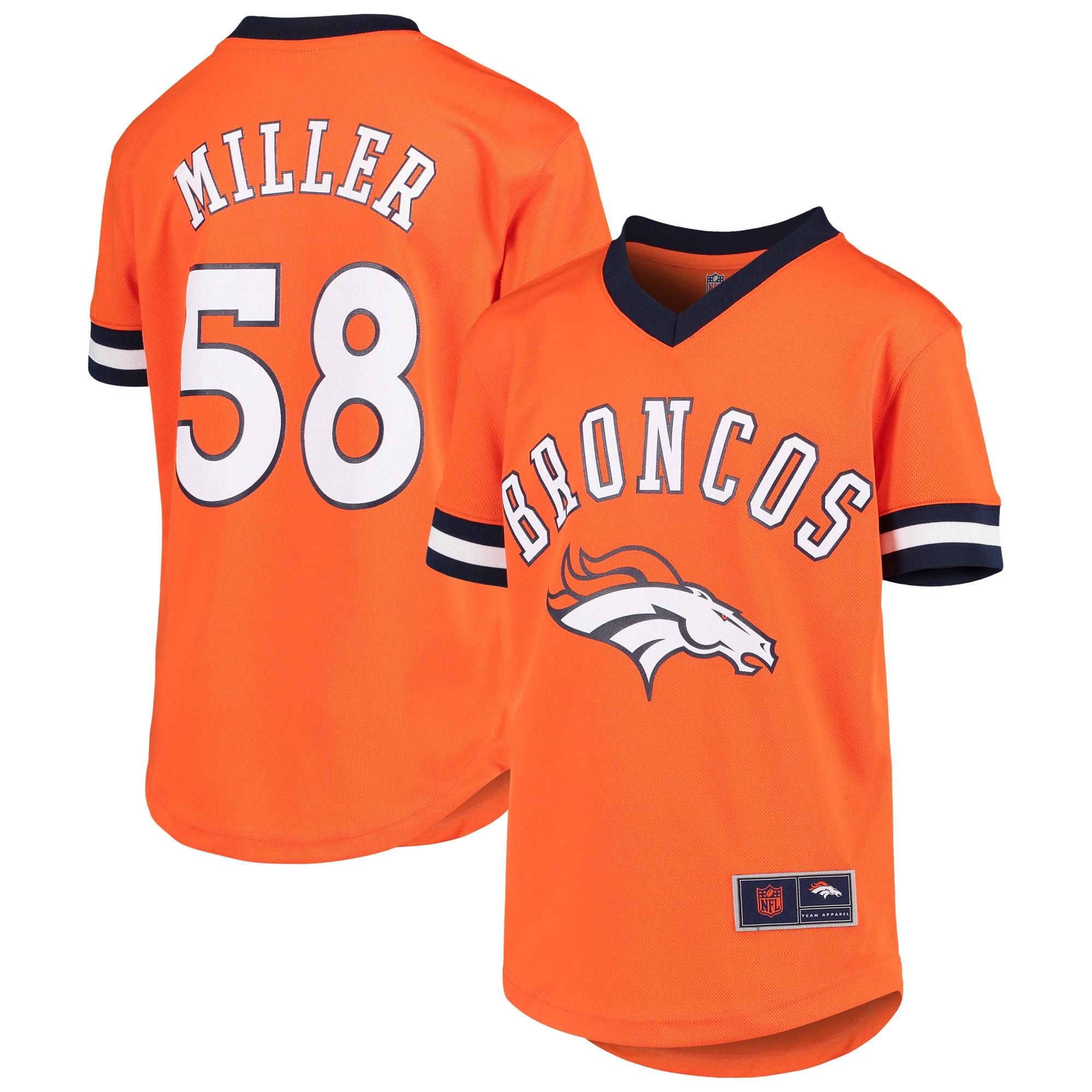 Von Miller Denver Broncos Youth Player Name & Number Fashion Mesh V-Neck Top - Orange