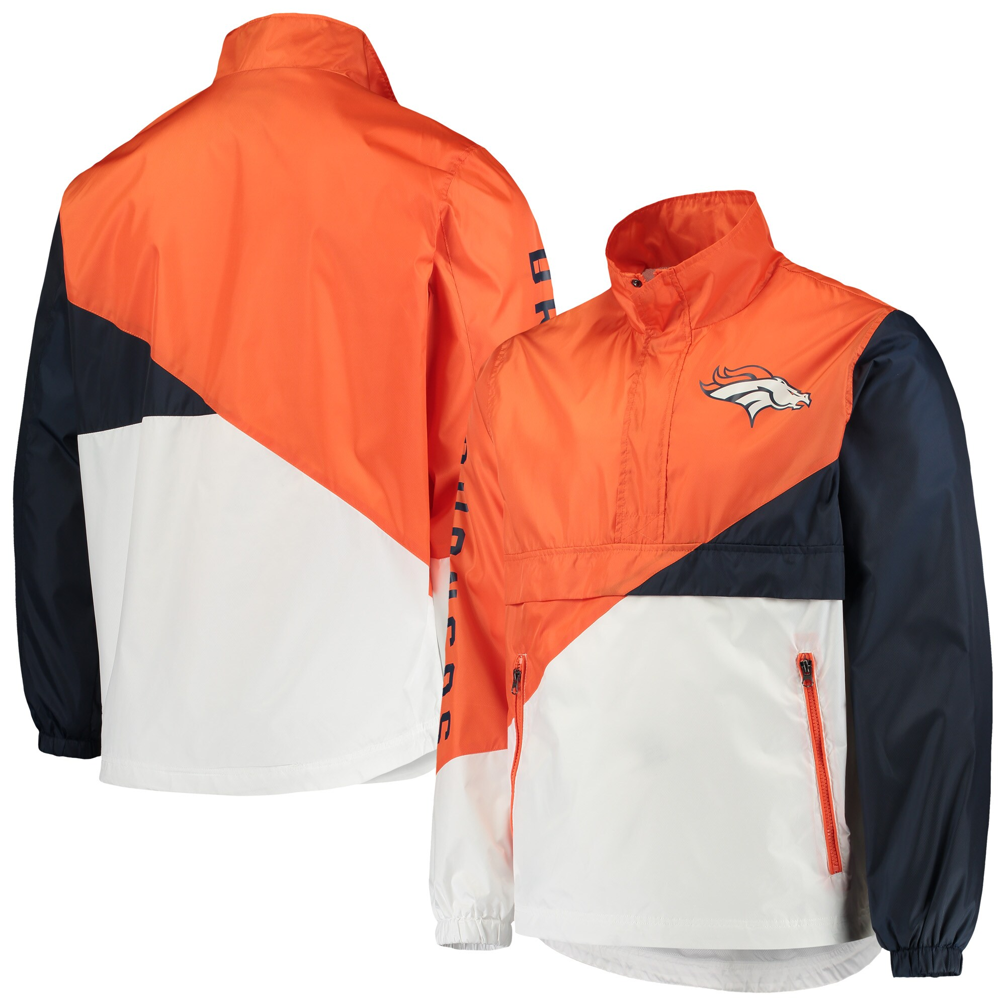 Denver Broncos G-III Sports by Carl Banks Double Team Half-Zip Pullover Jacket - Orange/White
