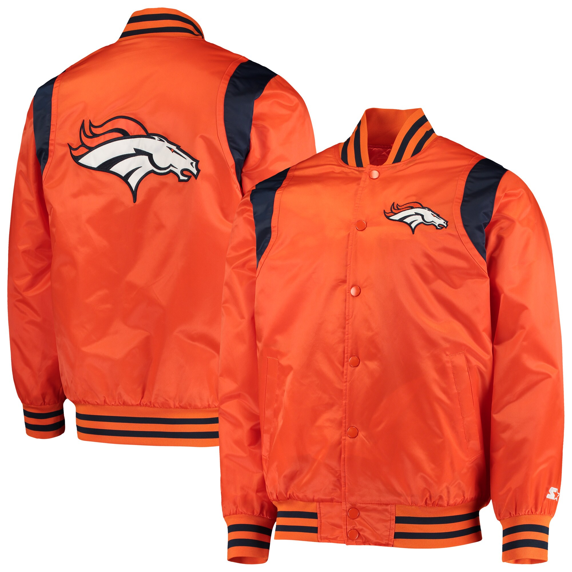 Denver Broncos Starter Prime Time Twill Satin Varsity Full-Snap Jacket - Orange/Navy