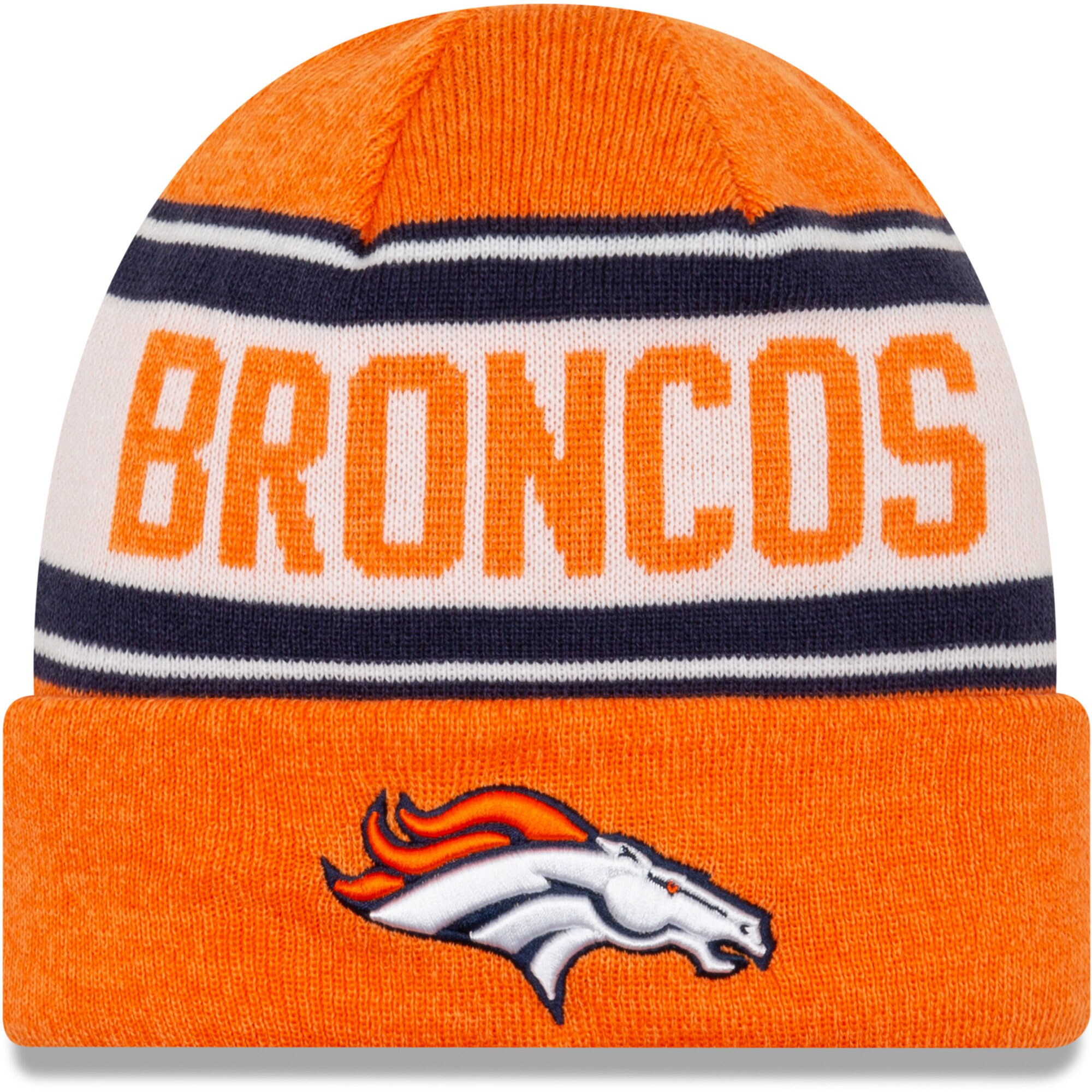 Denver Broncos New Era Knit Stated Cuffed Knit Hat - Orange