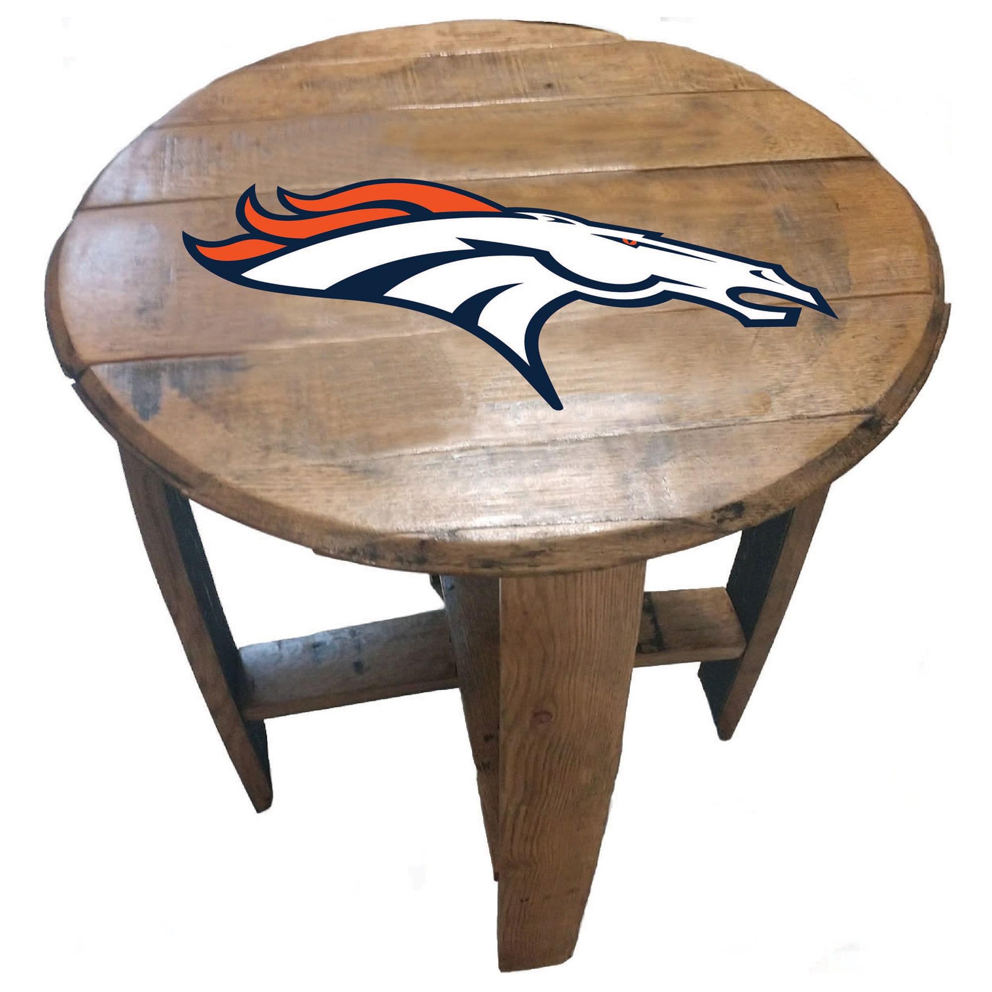 Denver Broncos Imperial Oak Barrel Table
