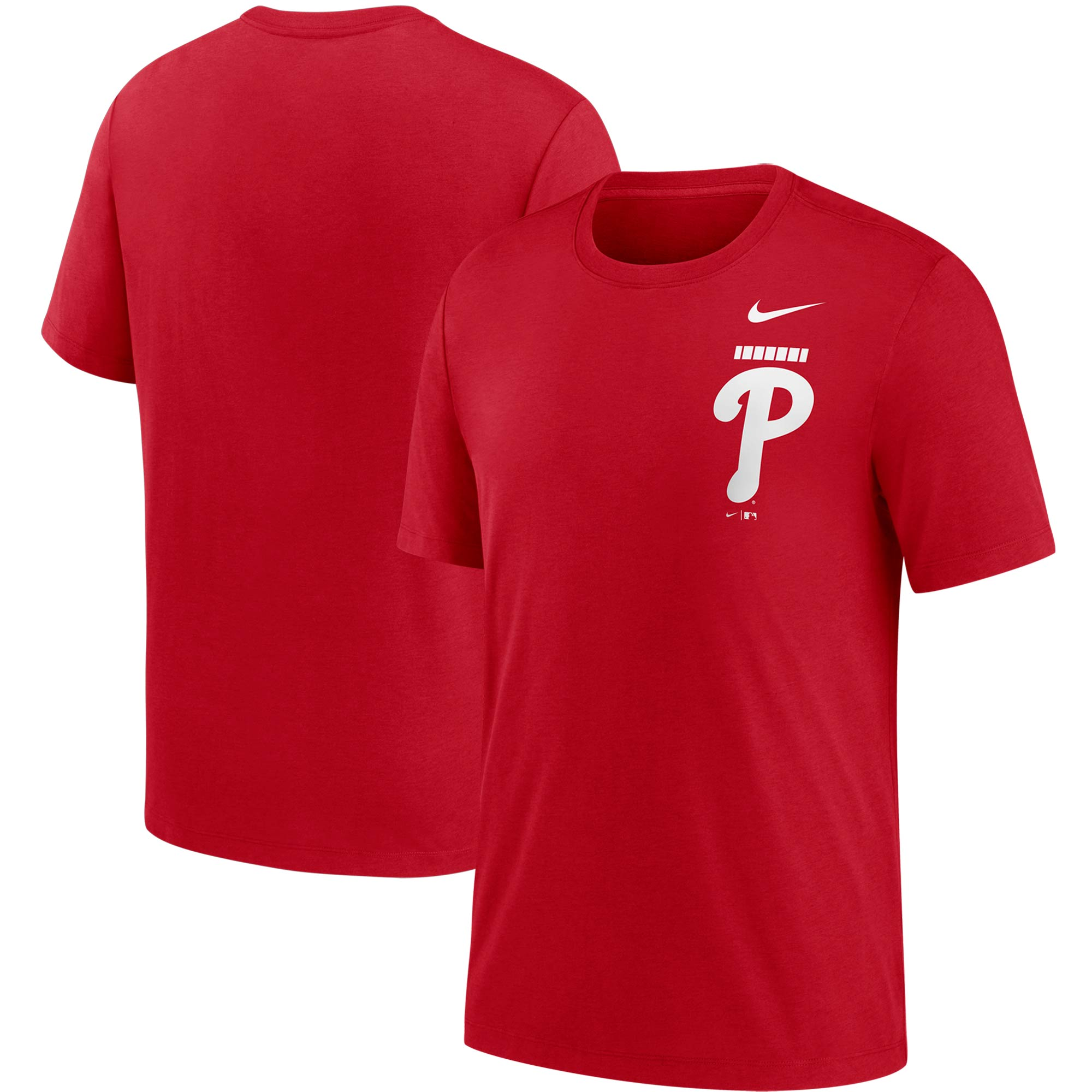 Philadelphia Phillies Nike Color Bar Tri-Blend T-Shirt - Red