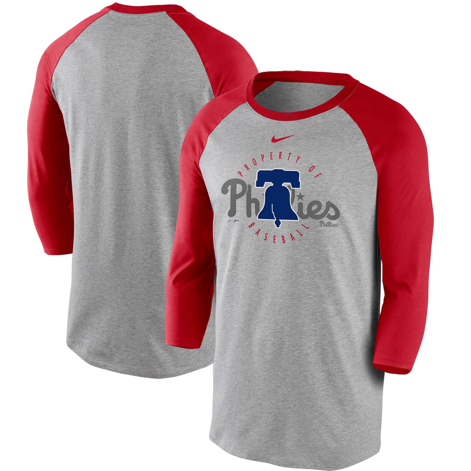Philadelphia Phillies Nike Property Of Tri-Blend Raglan 3/4 Sleeve T-Shirt - Gray/Red