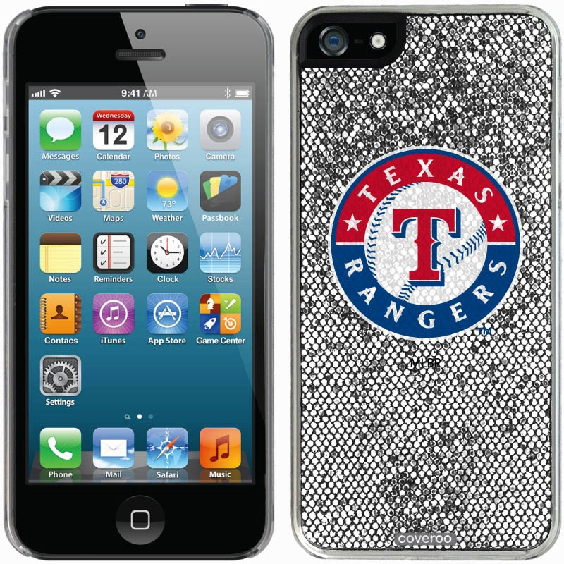 Texas Rangers iPhone 5/5s Bling Thinshield Snap-On Case - Silver