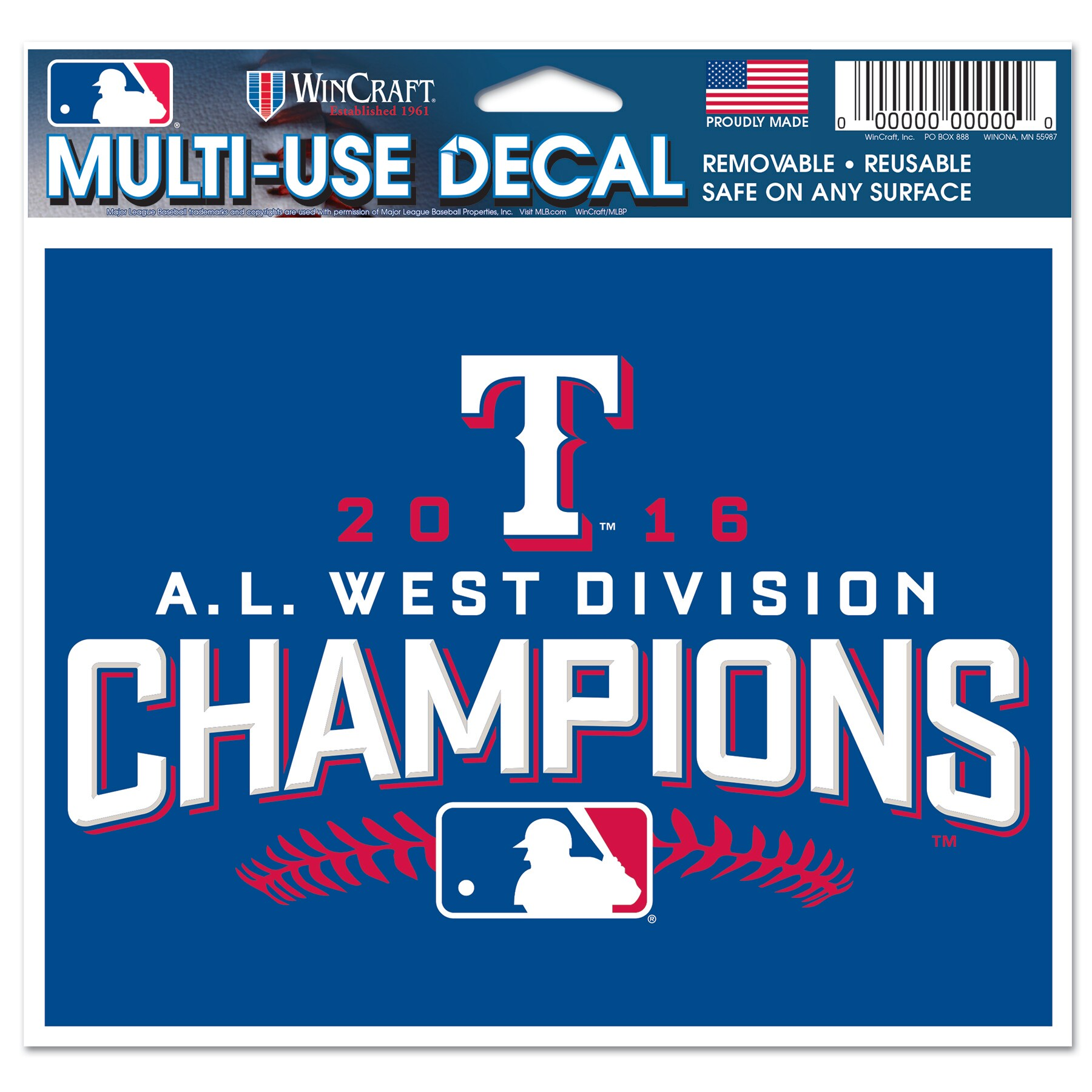 "Texas Rangers WinCraft 2016 AL West Division Champions 4"" x 6"" Multi-Use Decal"