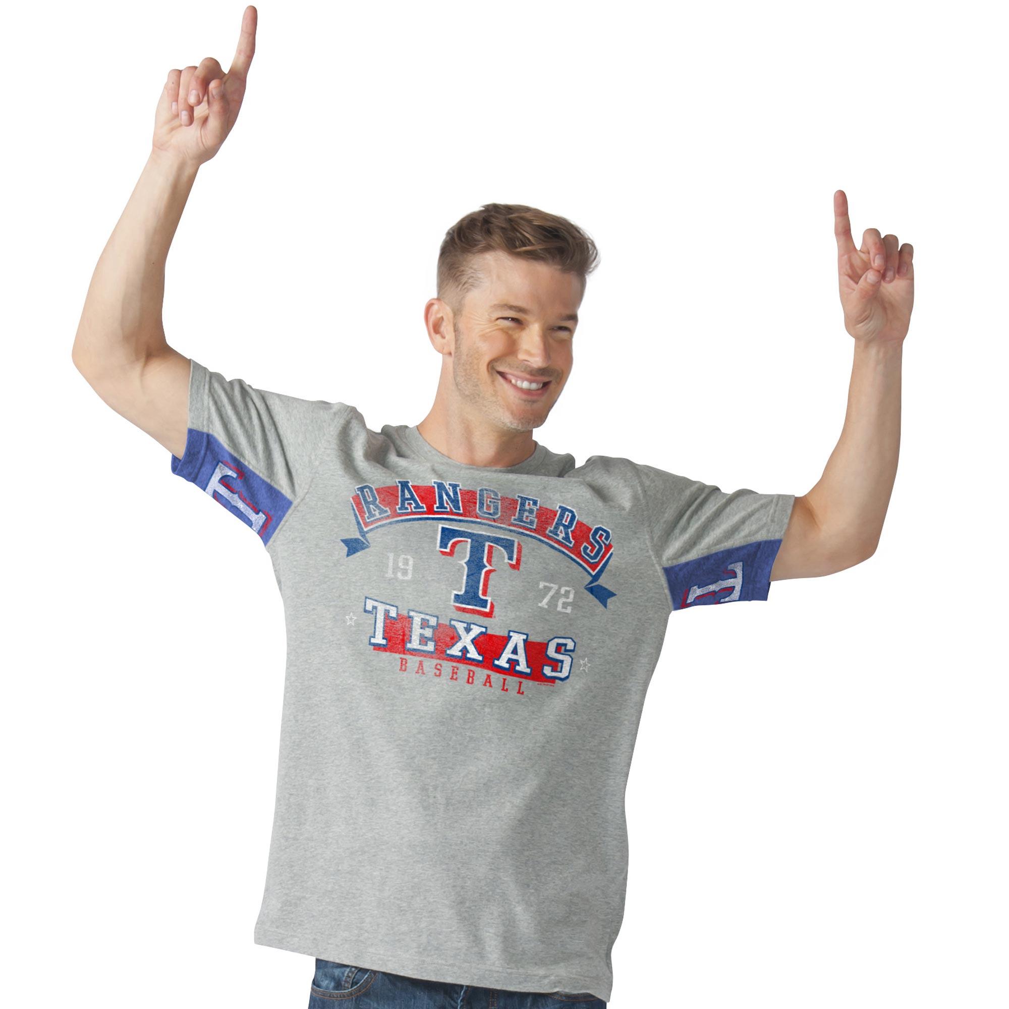 Texas Rangers G-III Sports by Carl Banks Hands High Power Sweep Fashion T-Shirt - Gray