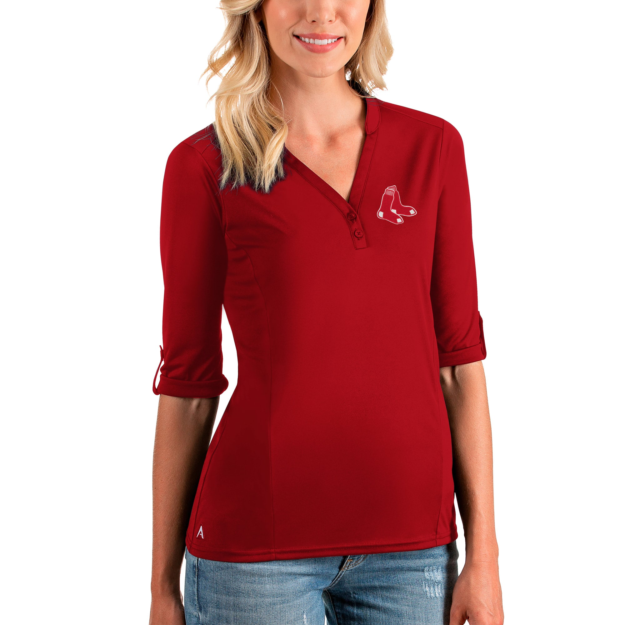 Boston Red Sox Antigua Women's Accolade 3/4 Sleeve V-Neck Top - Red