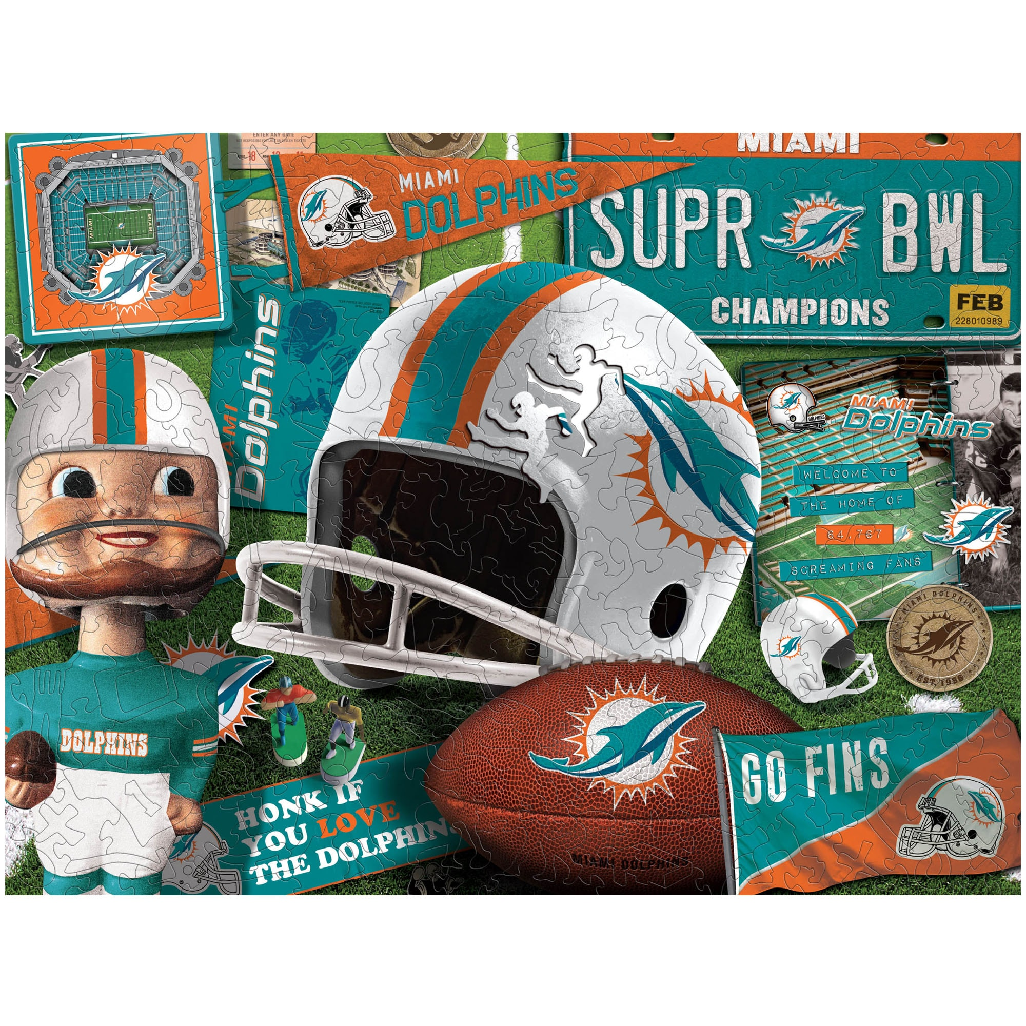 Miami Dolphins Wooden Retro Series Puzzle