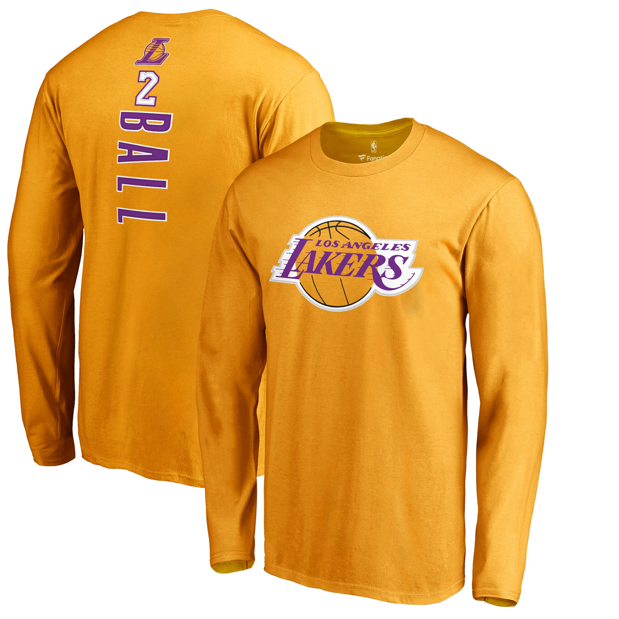 Lonzo Ball Los Angeles Lakers Fanatics Branded Backer Name & Number Long Sleeve T-Shirt - Gold