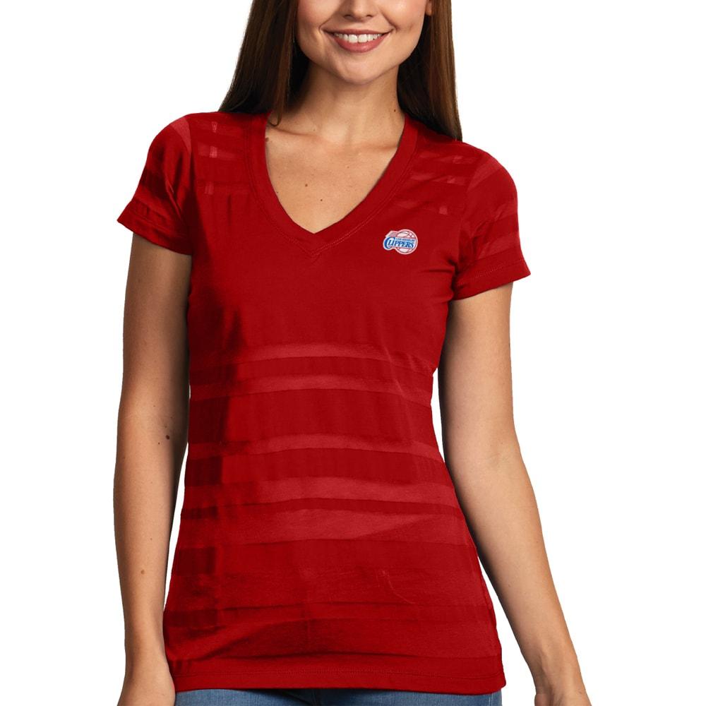 LA Clippers Antigua Women's Juke Burnout V-Neck T-Shirt - Red
