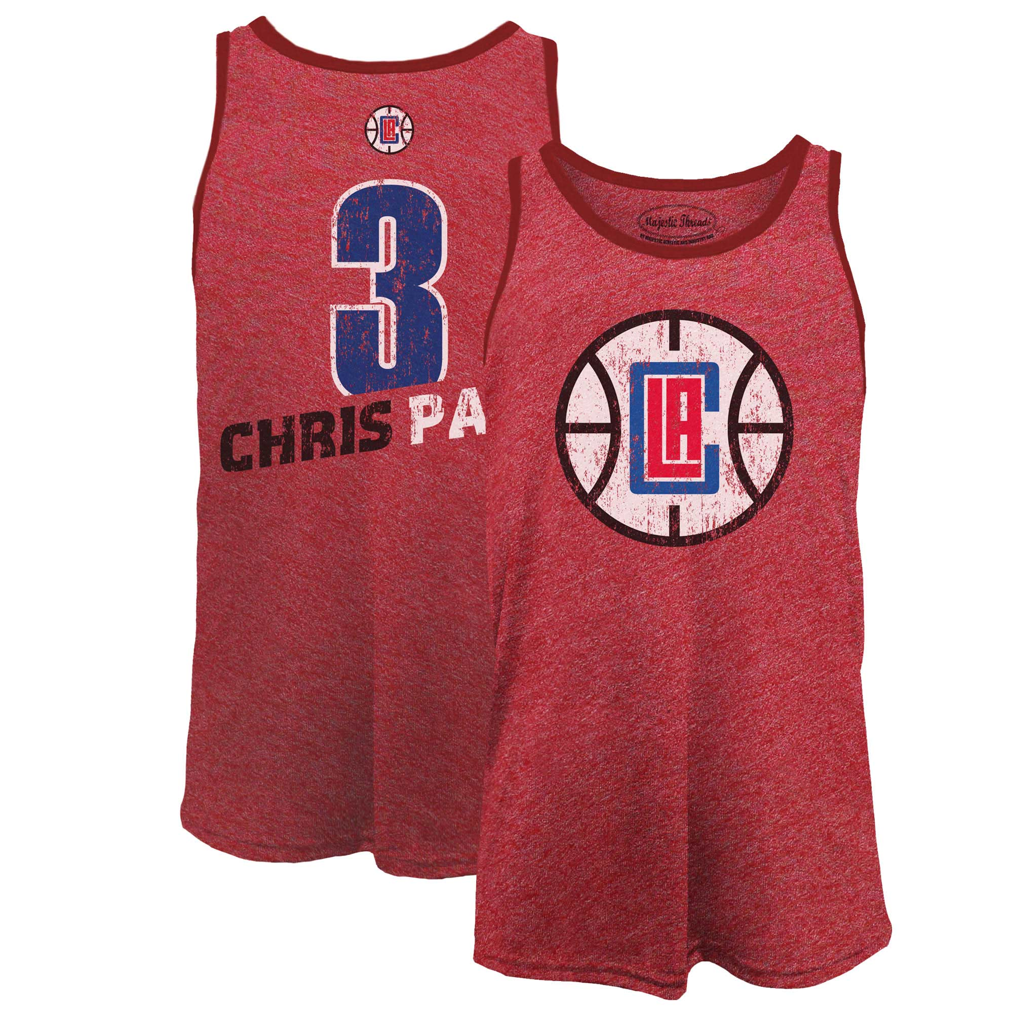 Chris Paul LA Clippers Majestic Threads Name & Number Tri-Blend Tank Top - Red