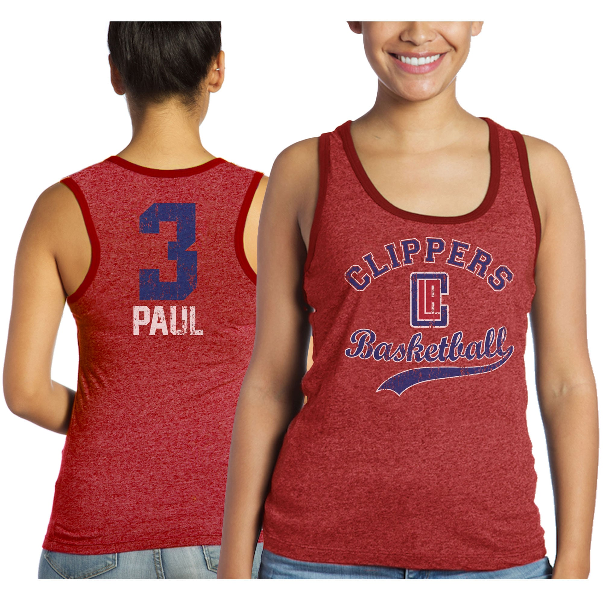 Chris Paul LA Clippers Majestic Threads Women's Name & Number Tri-Blend Tank Top - Red