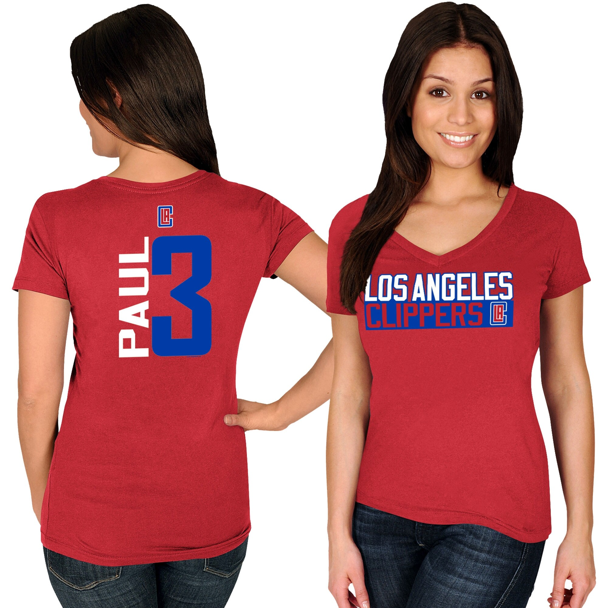 Chris Paul LA Clippers Majestic Women's Name & Number V-Neck T-Shirt - Red