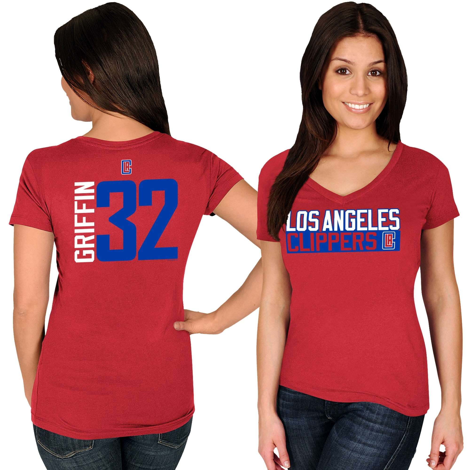 Blake Griffin LA Clippers Majestic Women's Name & Number V-Neck T-Shirt - Red
