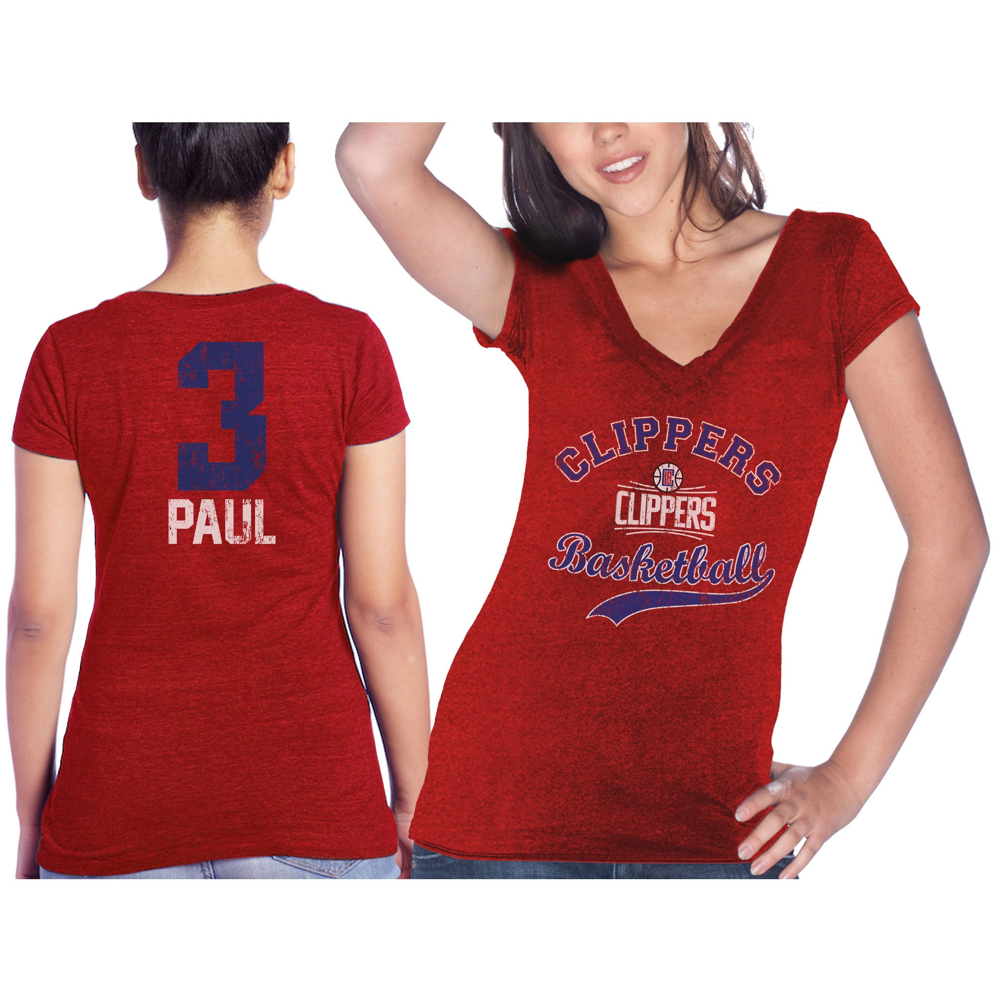 Chris Paul LA Clippers Majestic Threads Women's Name & Number Tri-Blend T-Shirt - Red