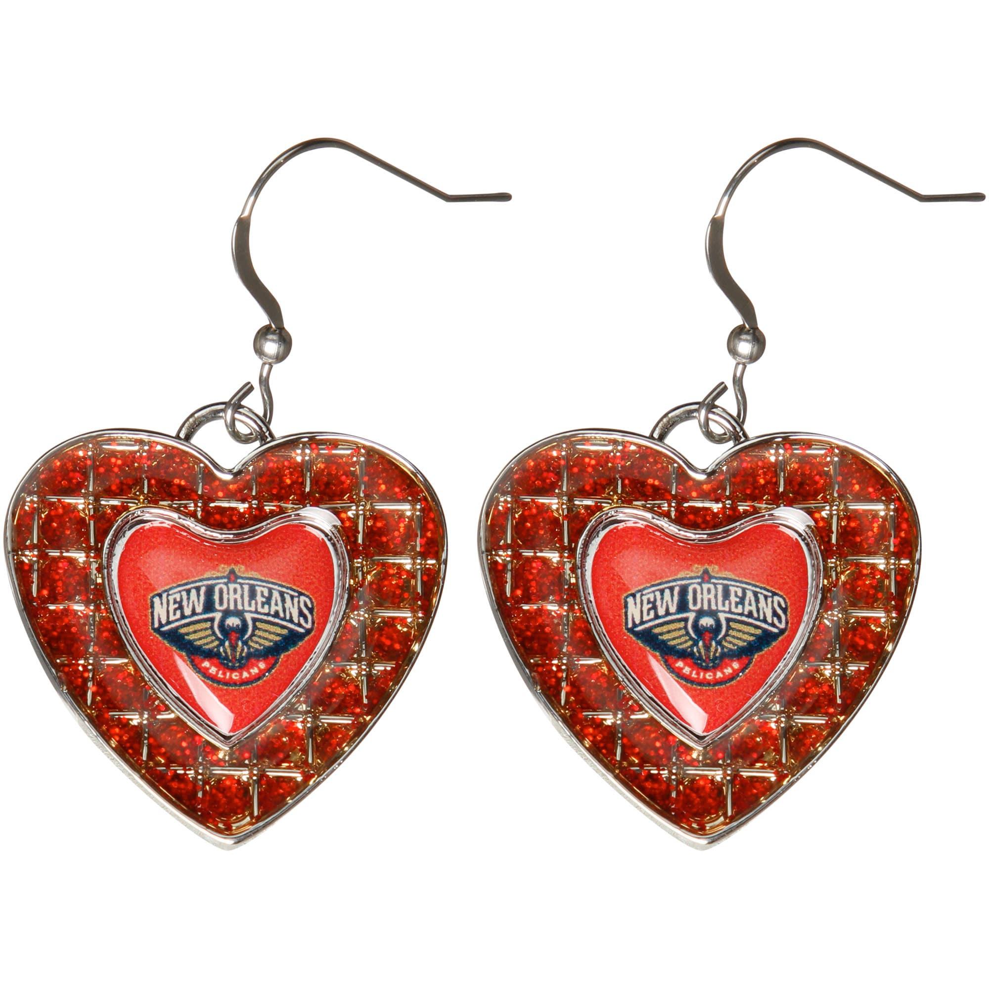 New Orleans Pelicans Women's Glitter Stone Heart Earrings