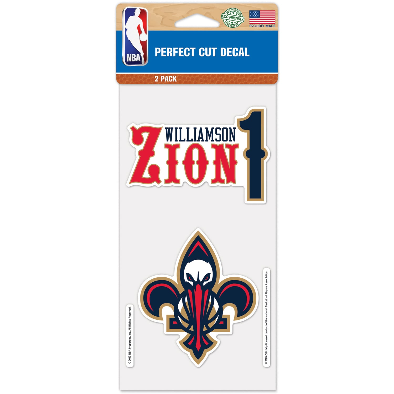 "Zion Williamson New Orleans Pelicans WinCraft Two-Pack 4"" x 8"" Perfect Cut Player Decals"