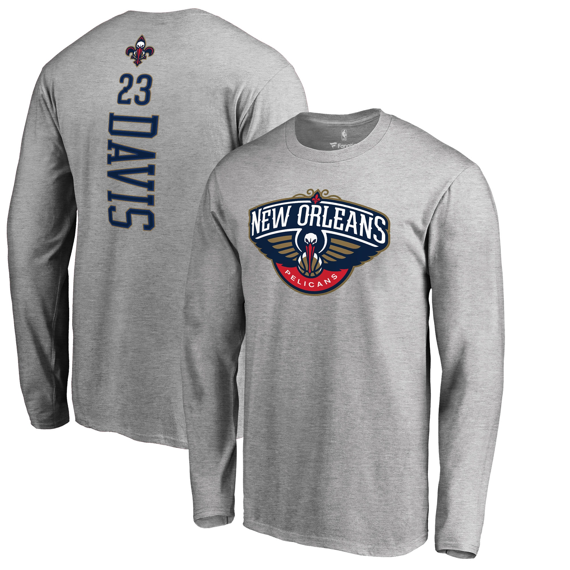 Anthony Davis New Orleans Pelicans Fanatics Branded Backer Big & Tall Long Sleeve T-Shirt - Gray