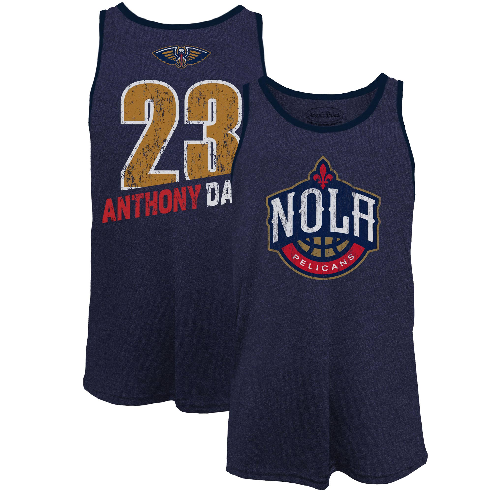 Anthony Davis New Orleans Pelicans Majestic Threads Name & Number Tri-Blend Tank Top - Navy