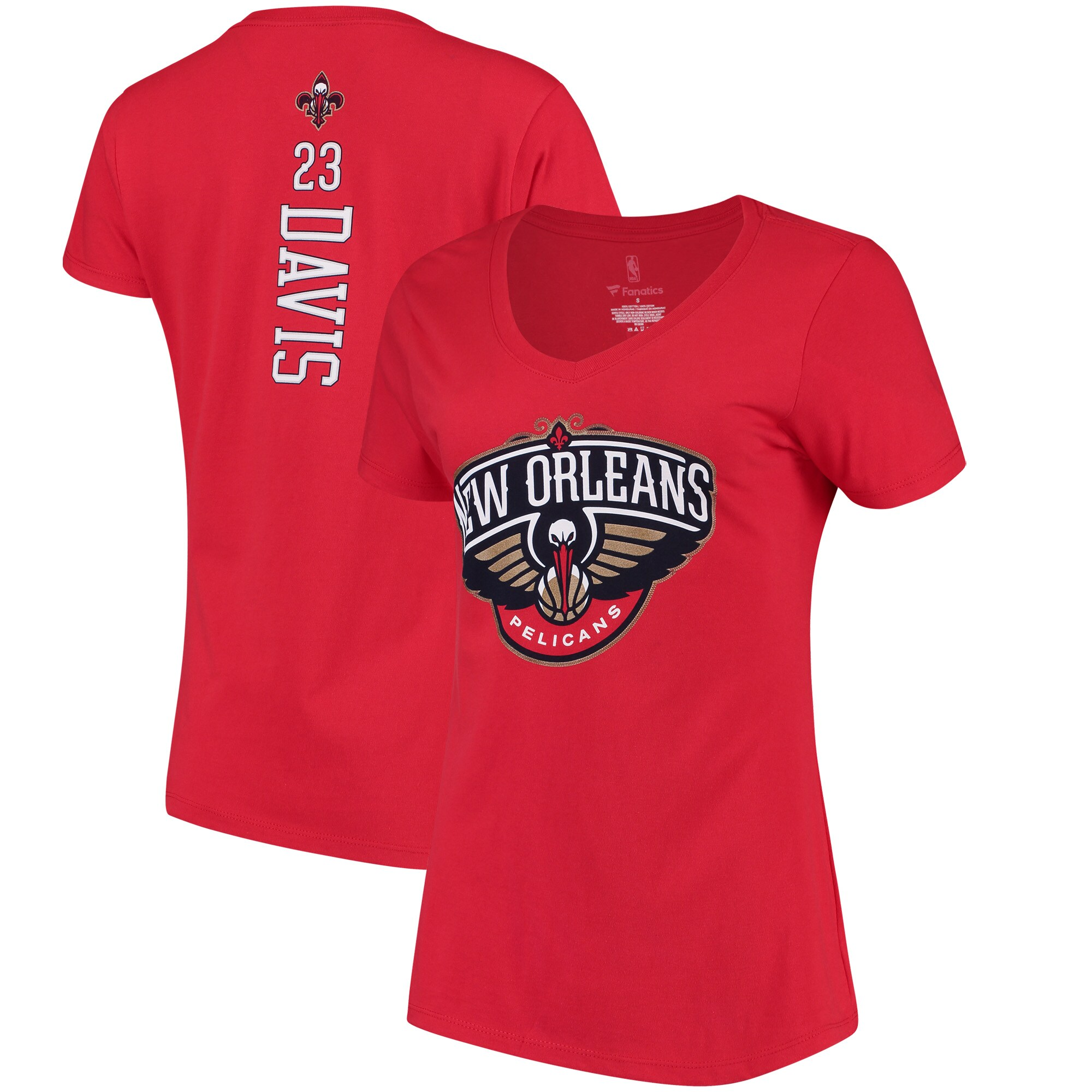 Anthony Davis New Orleans Pelicans Fanatics Branded Women's Backer Classic Fit Name & Number V-Neck T-Shirt - Red