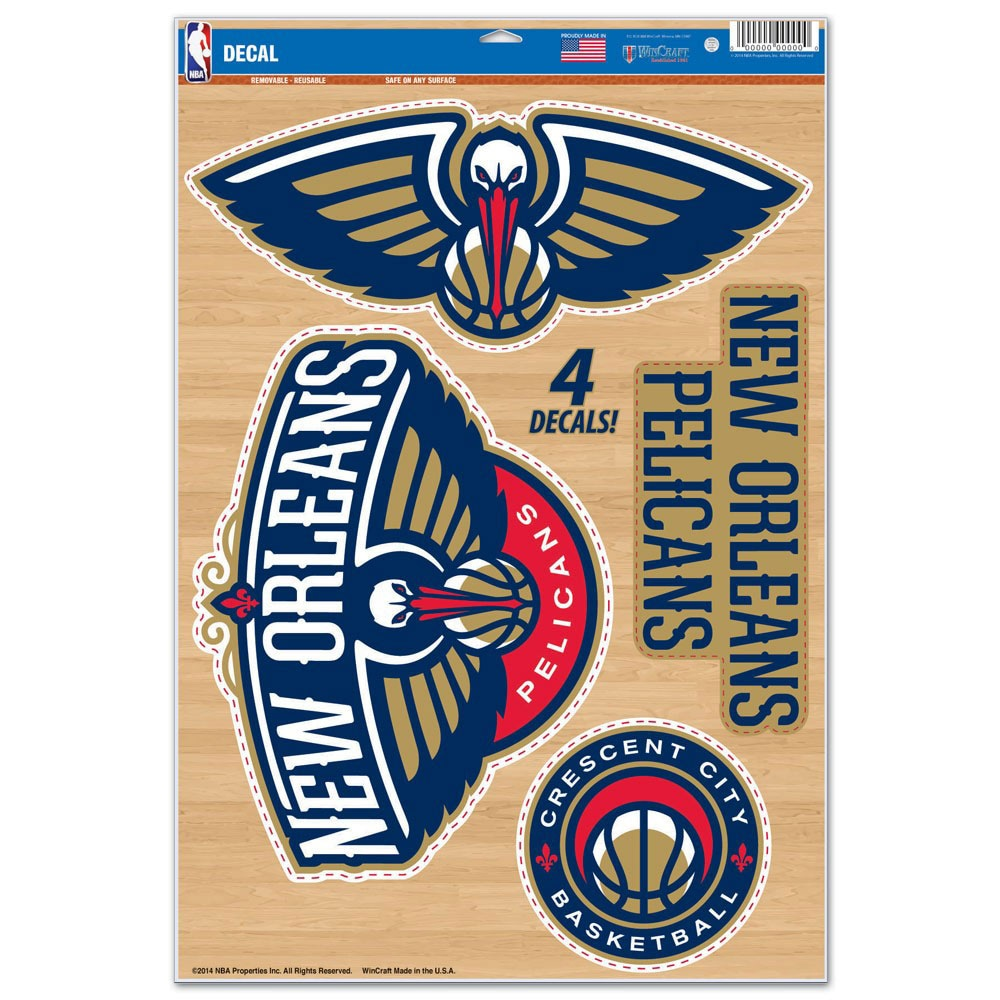 """New Orleans Pelicans WinCraft 11"""" x 17"""" Multi-Use Decal Sheet"""