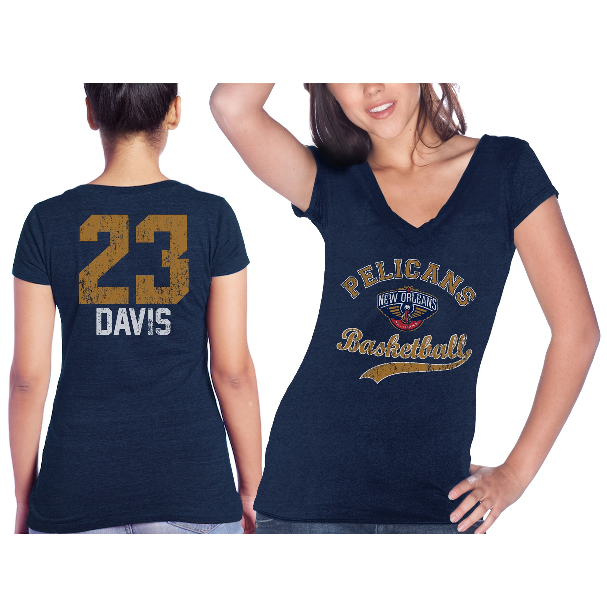 Anthony Davis New Orleans Pelicans Majestic Threads Women's Name & Number Tri-Blend T-Shirt - Navy