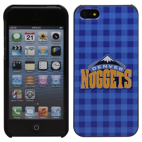 Denver Nuggets iPhone 5 Plaid Snap-On Case - Powder Blue