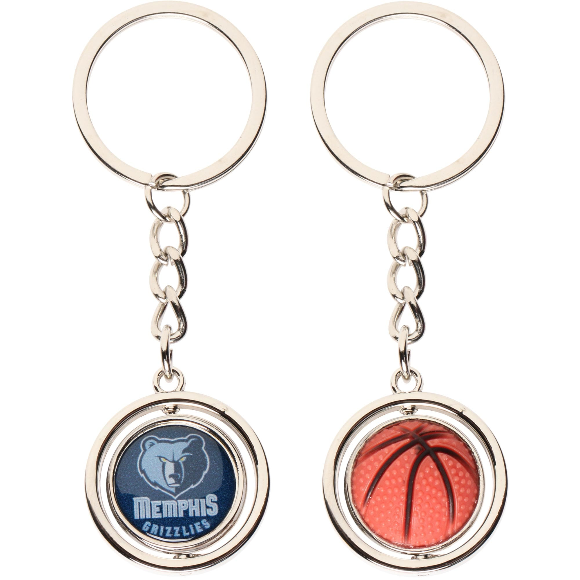 Memphis Grizzlies Spinning Basketball Keychain