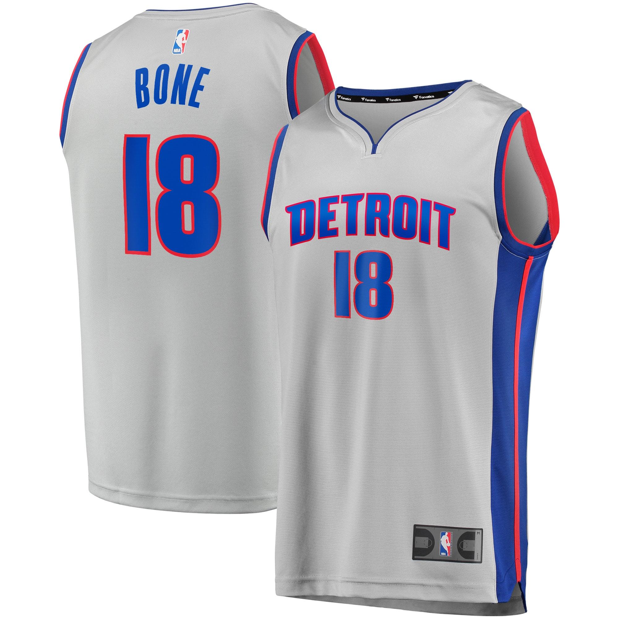 Jordan Bone Detroit Pistons Fanatics Branded Fast Break Replica Player Team Jersey - Statement Edition - Gray