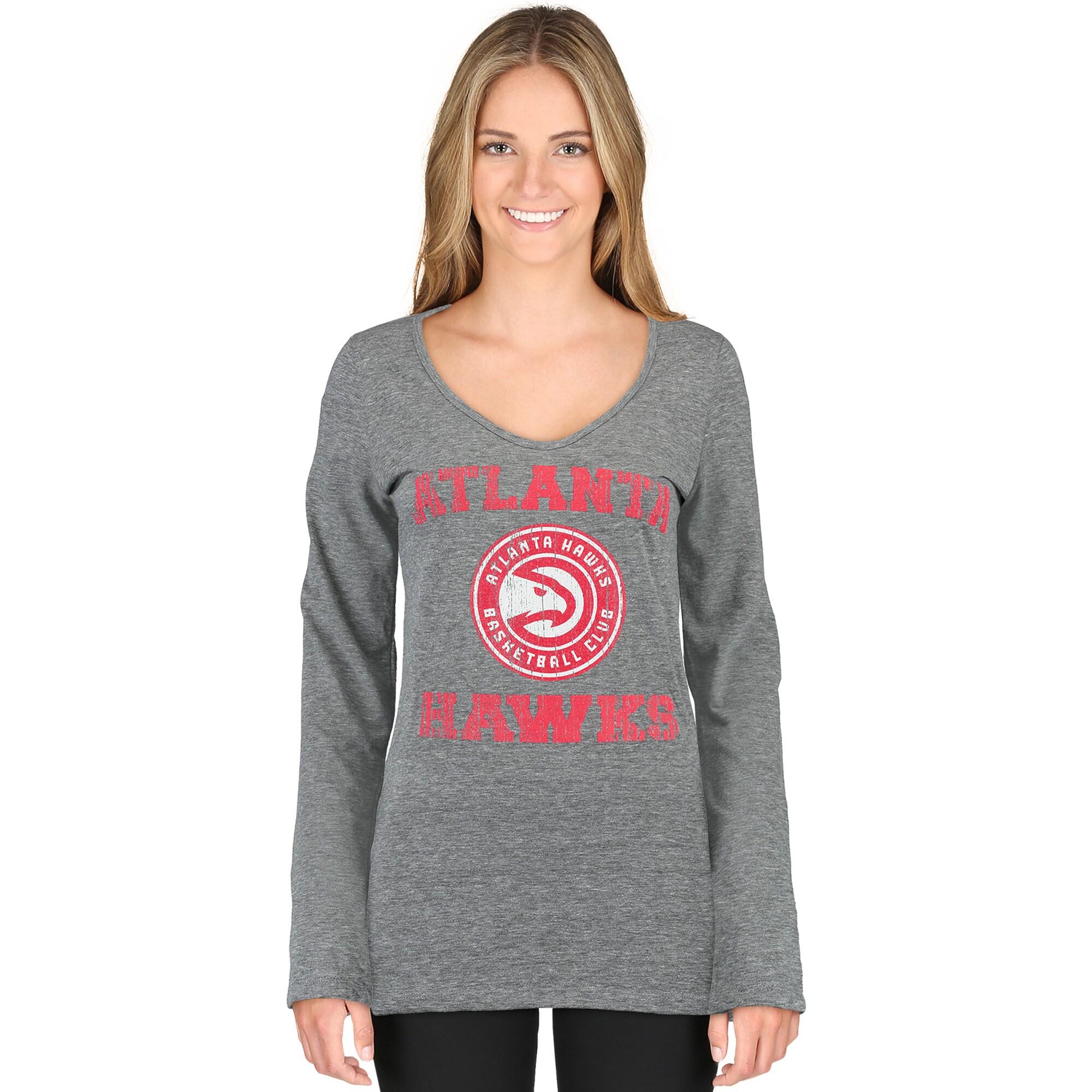 Atlanta Hawks 5th & Ocean by New Era Women's Tri-Blend Long Sleeve Glitter Logo Scoop Neck T-Shirt - Gray
