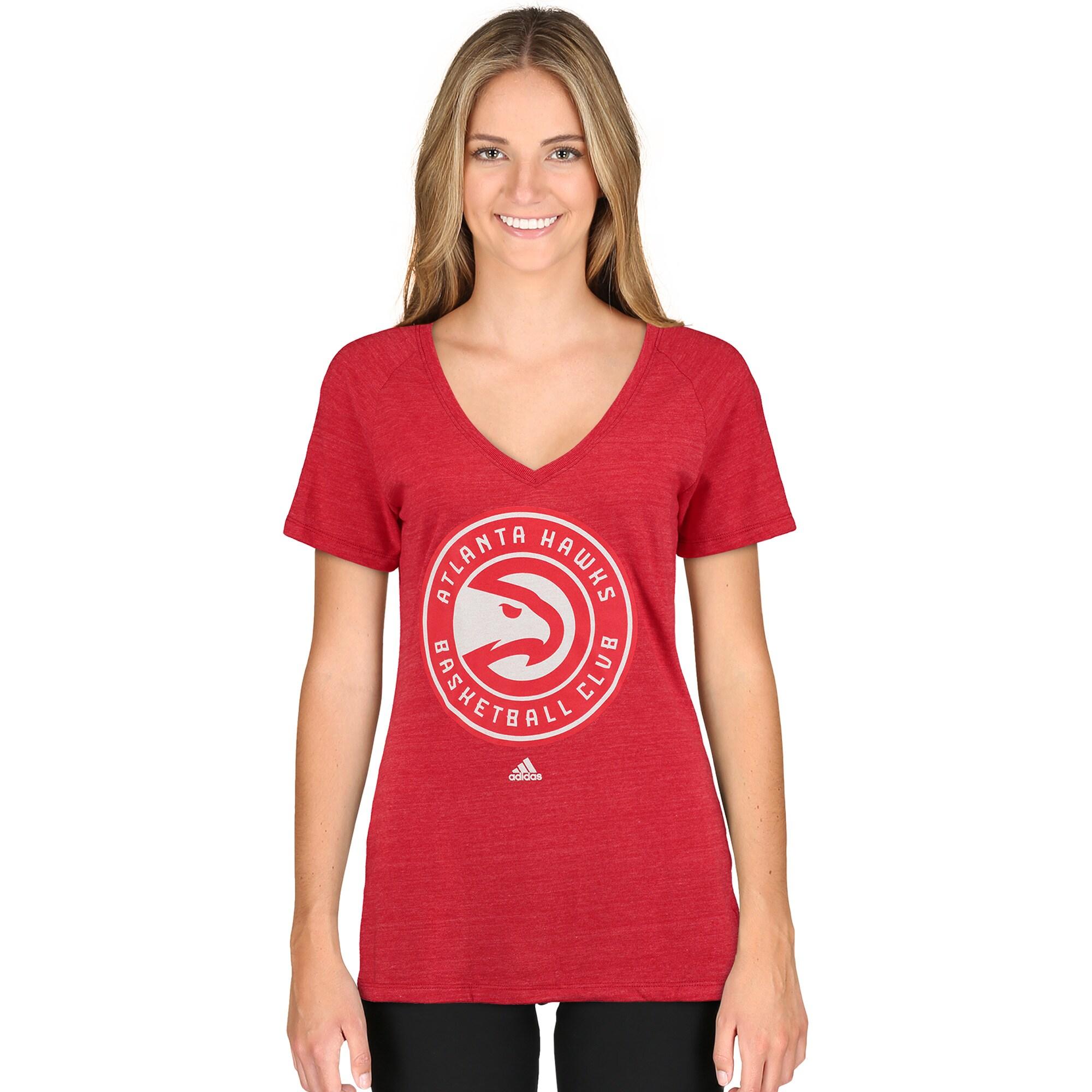 Atlanta Hawks adidas Women's Primary Logo Tri-Blend V-Neck T-Shirt - Red