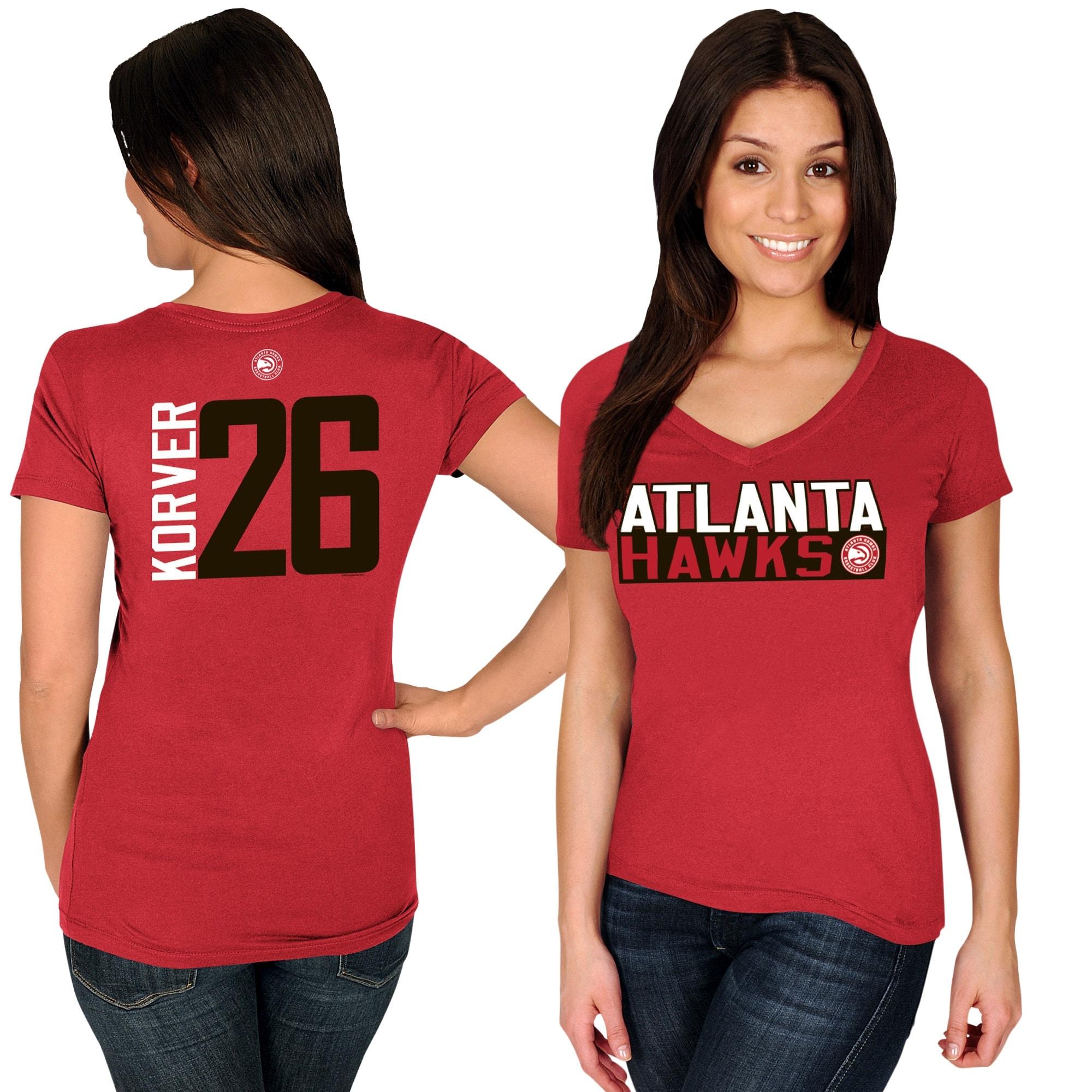 Kyle Korver Atlanta Hawks Majestic Women's Name & Number V-Neck T-Shirt - Red