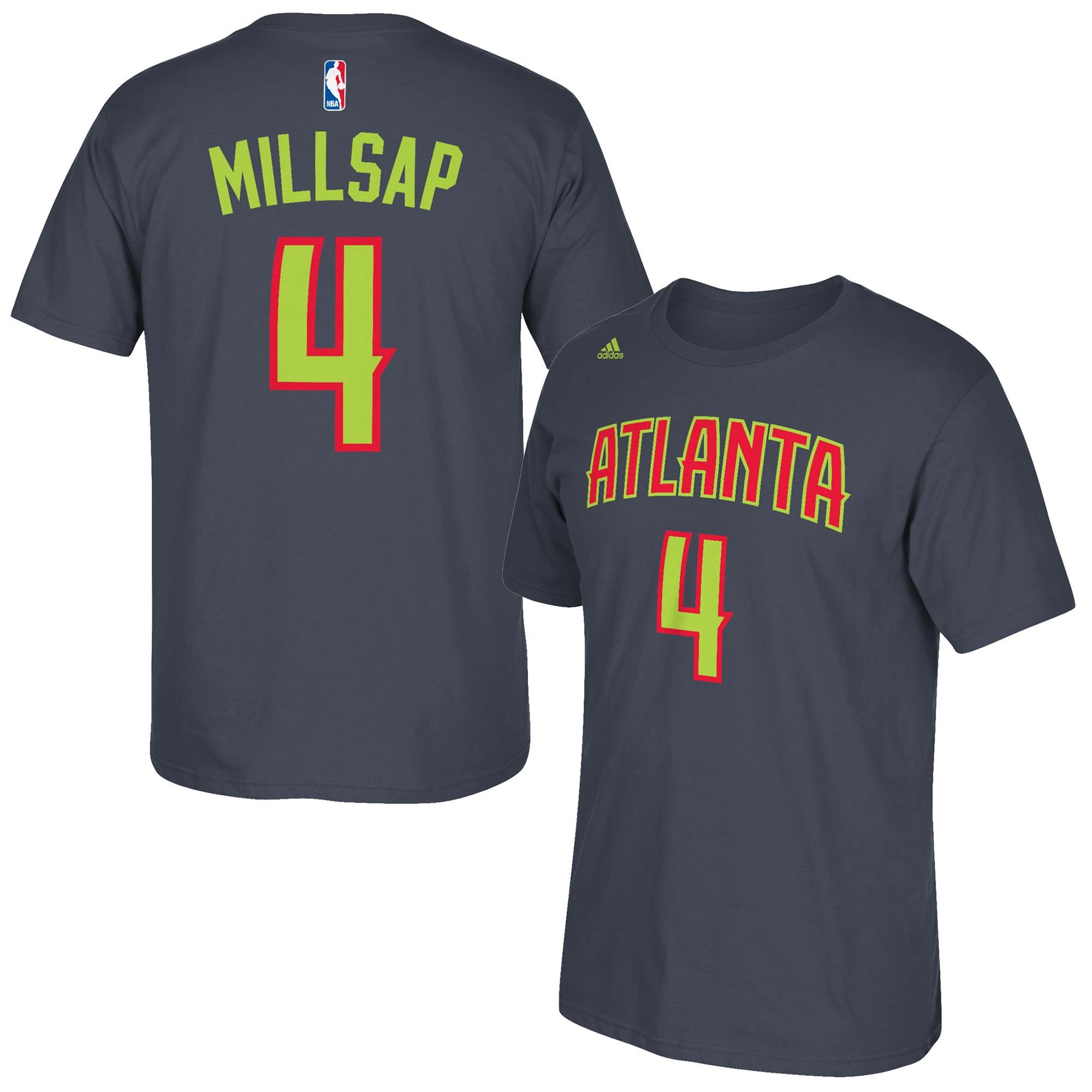 Paul Millsap Atlanta Hawks adidas Net Number T-Shirt - Gray