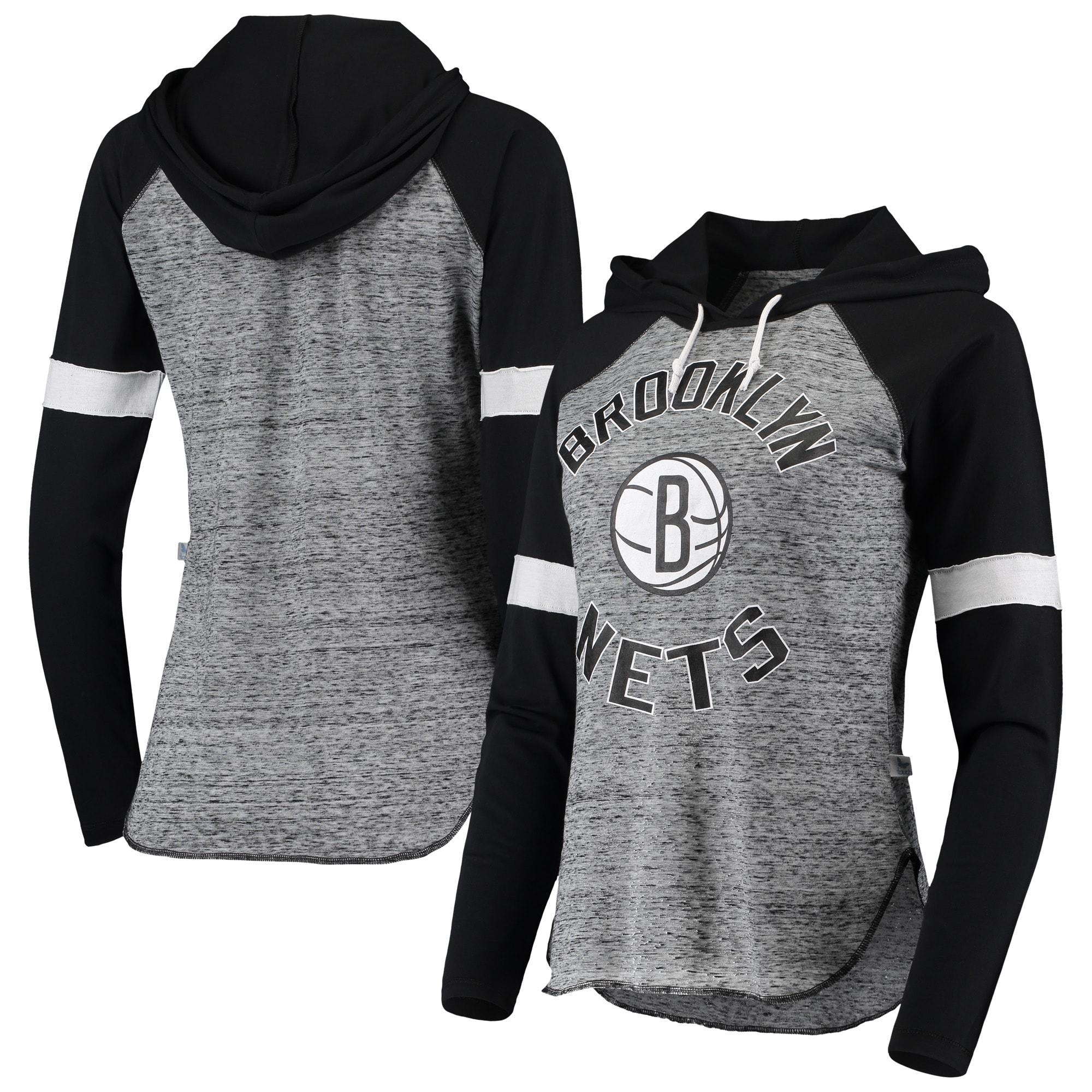 Brooklyn Nets Touch Women's Season Opener Raglan Hoodie Long Sleeve T-Shirt - Black