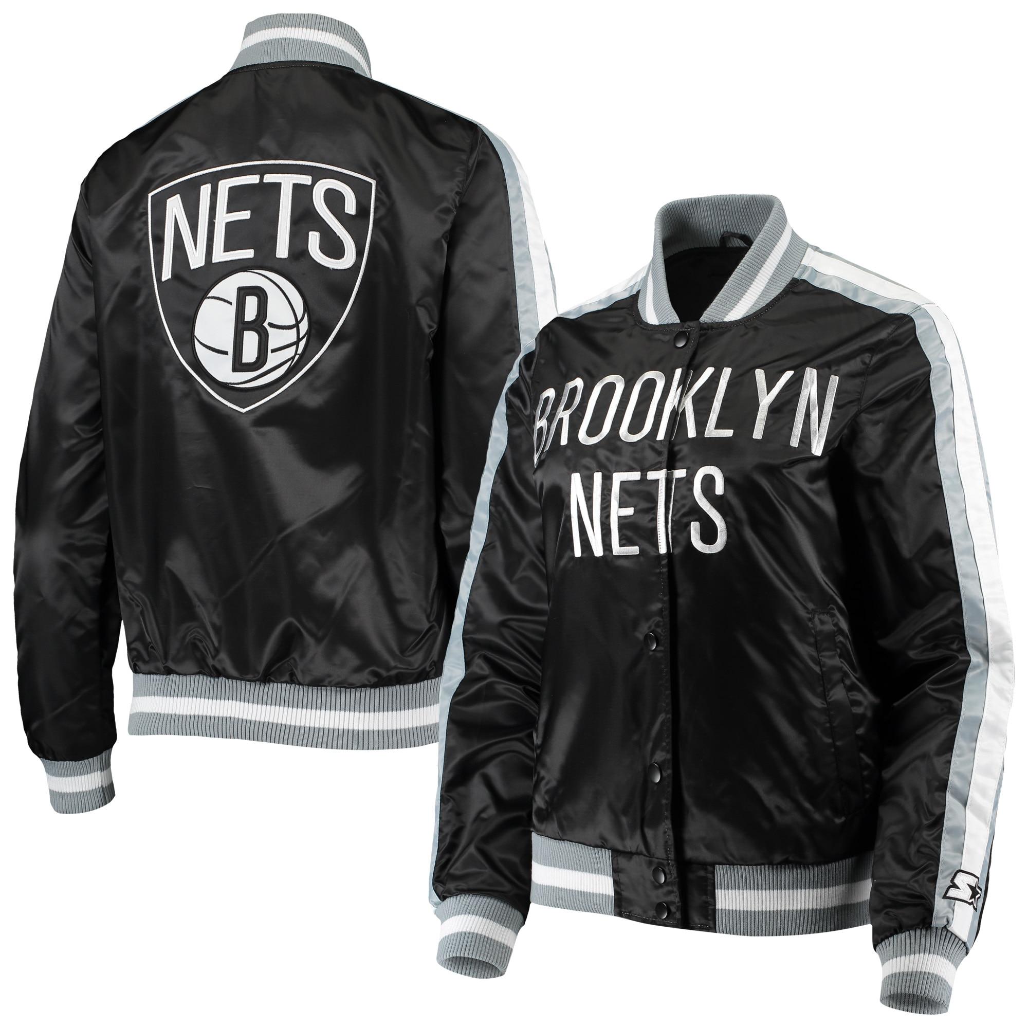 Brooklyn Nets Starter Women's Competition Satin Full-Snap Jacket - Black
